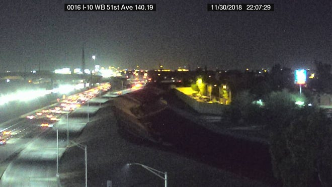 Interstate 10 east of 51st Avenue as seen from an ADOT freeway camera on the evening of Nov. 30.