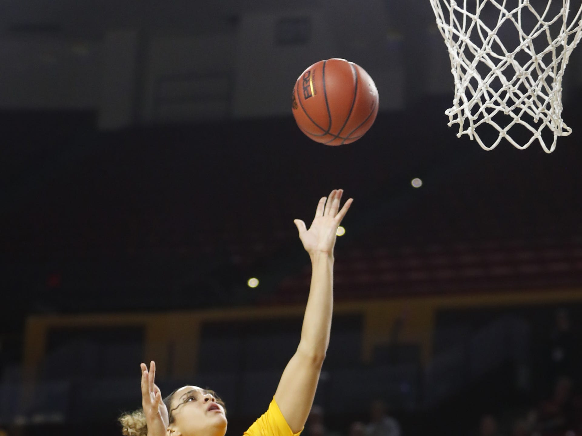 ASU's Kianna Ibis (42) shoots against Louisiana Tech during the first half at Wells Fargo Arena in Tempe, Ariz. on November 30, 2018.