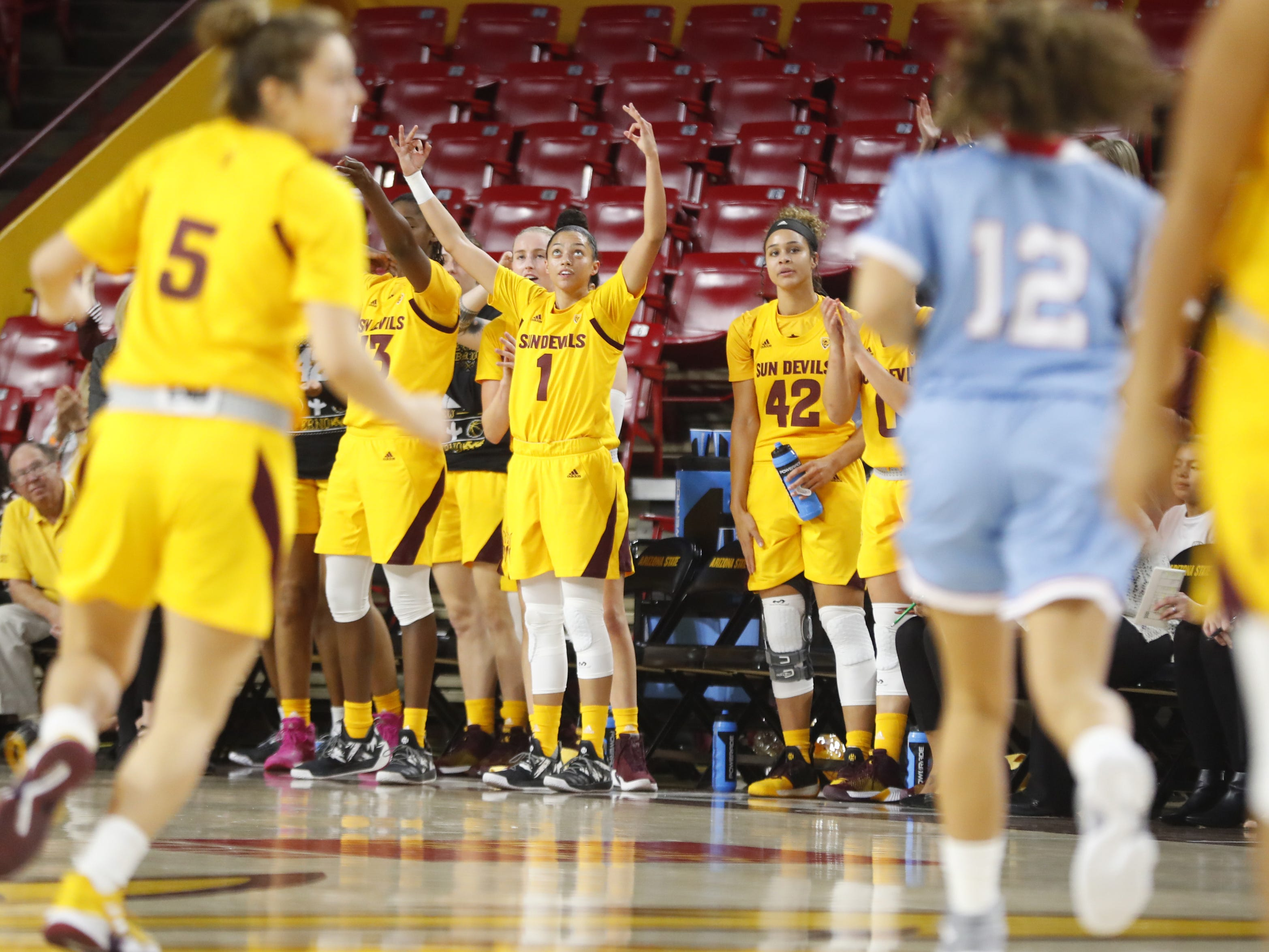 ASU's Reili Richardson (1) celebrates a three against Louisiana Tech during the first half at Wells Fargo Arena in Tempe, Ariz. on November 30, 2018.