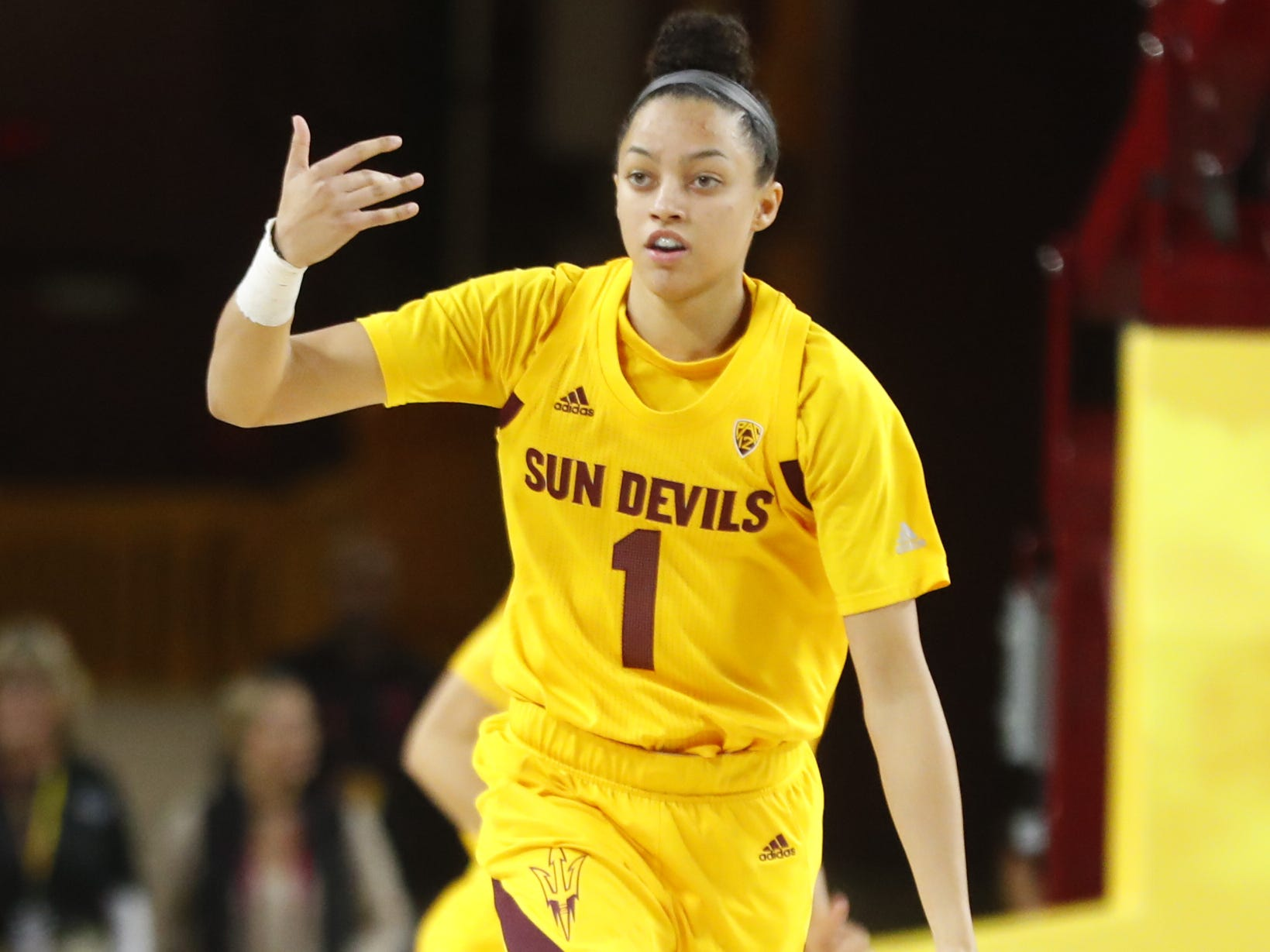 ASU's Reili Richardson (1) dribbles up the court against Louisiana Tech during the first half at Wells Fargo Arena in Tempe, Ariz. on November 30, 2018.