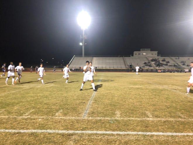 Brophy celebrates a goal during their win over Desert Vista.