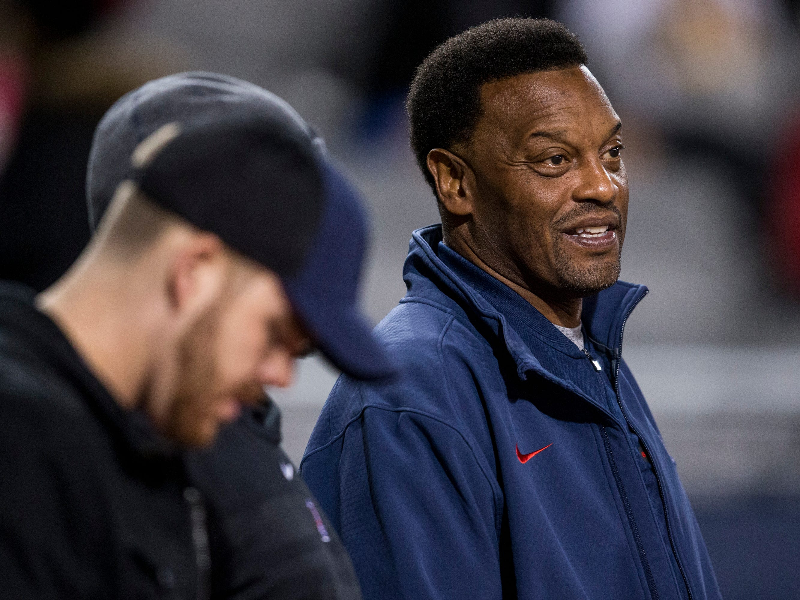 Arizona head coach Kevin Sumlin watches the 4A State Championship between Salpointe and Saguaro on Friday, Nov. 30, 2018, at Arizona Stadium in Tucson, Ariz. 