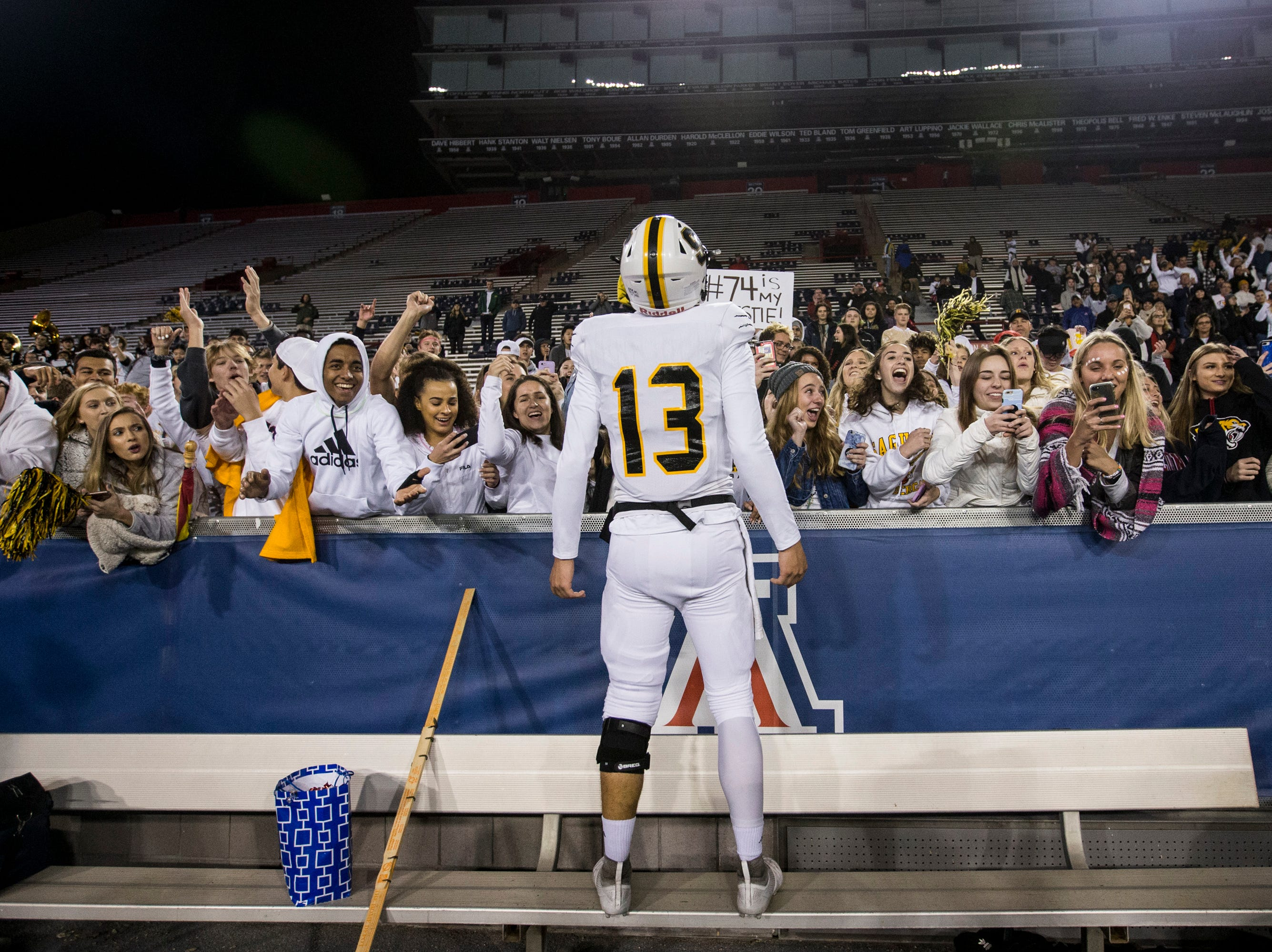 Saguaro's Tyler Beverett celebrates after defeating Salpointe for the 4A State Championship on Friday, Nov. 30, 2018, at Arizona Stadium in Tucson, Ariz. Saguaro won, 42-16.