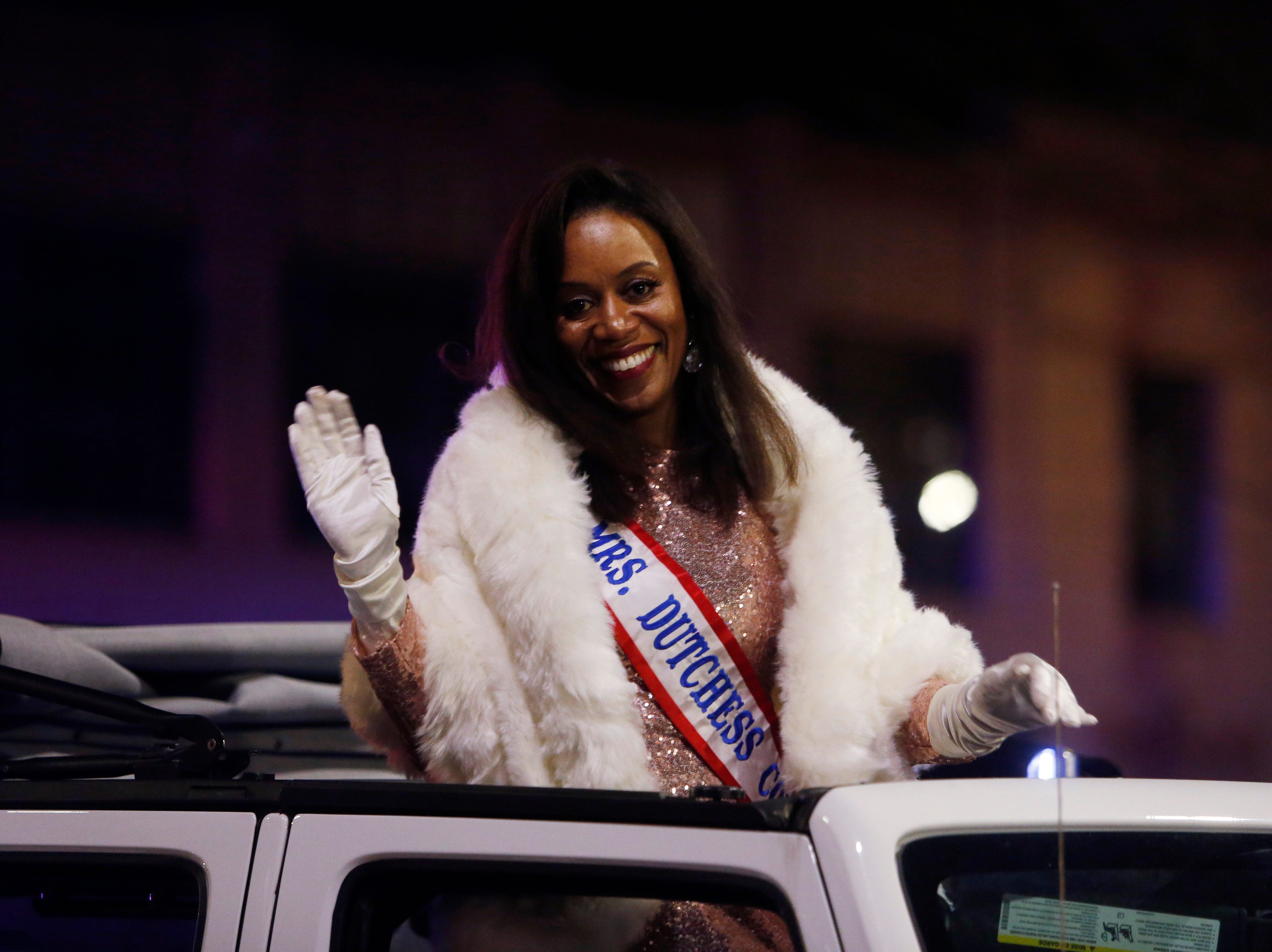 Jackie Berry, Mrs. Dutchess County during the Celebration of Lights Parade in the City of Poughkeepsie on November 30, 2018.