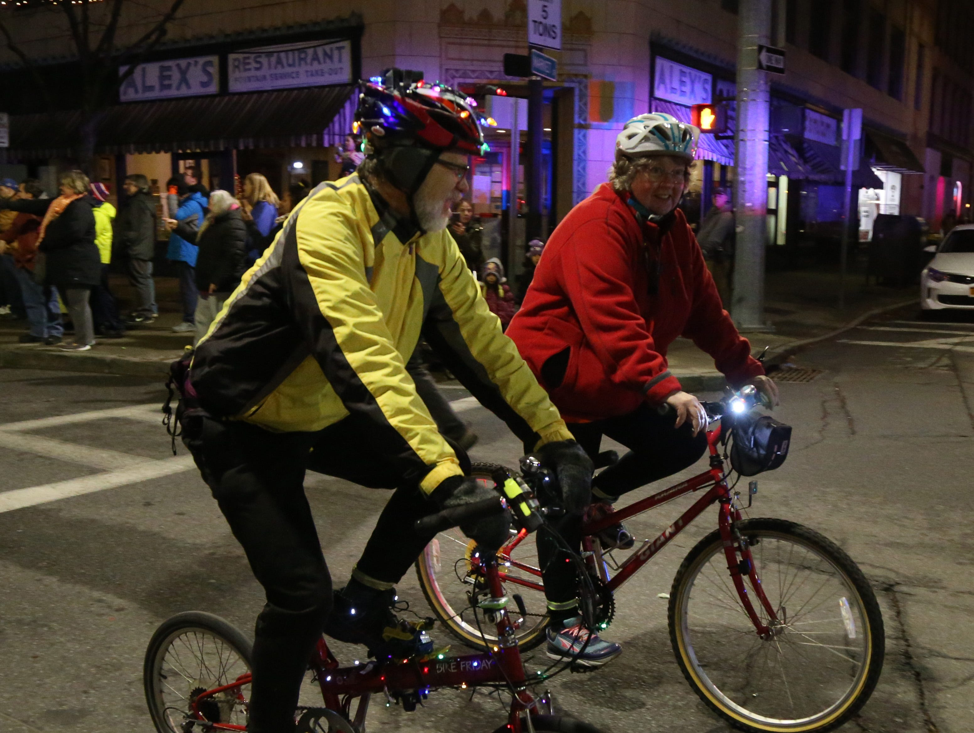Members of Fats in the Cats Bicycle Club in  the Celebration of Lights Parade in the City of Poughkeepsie on November 30, 2018.