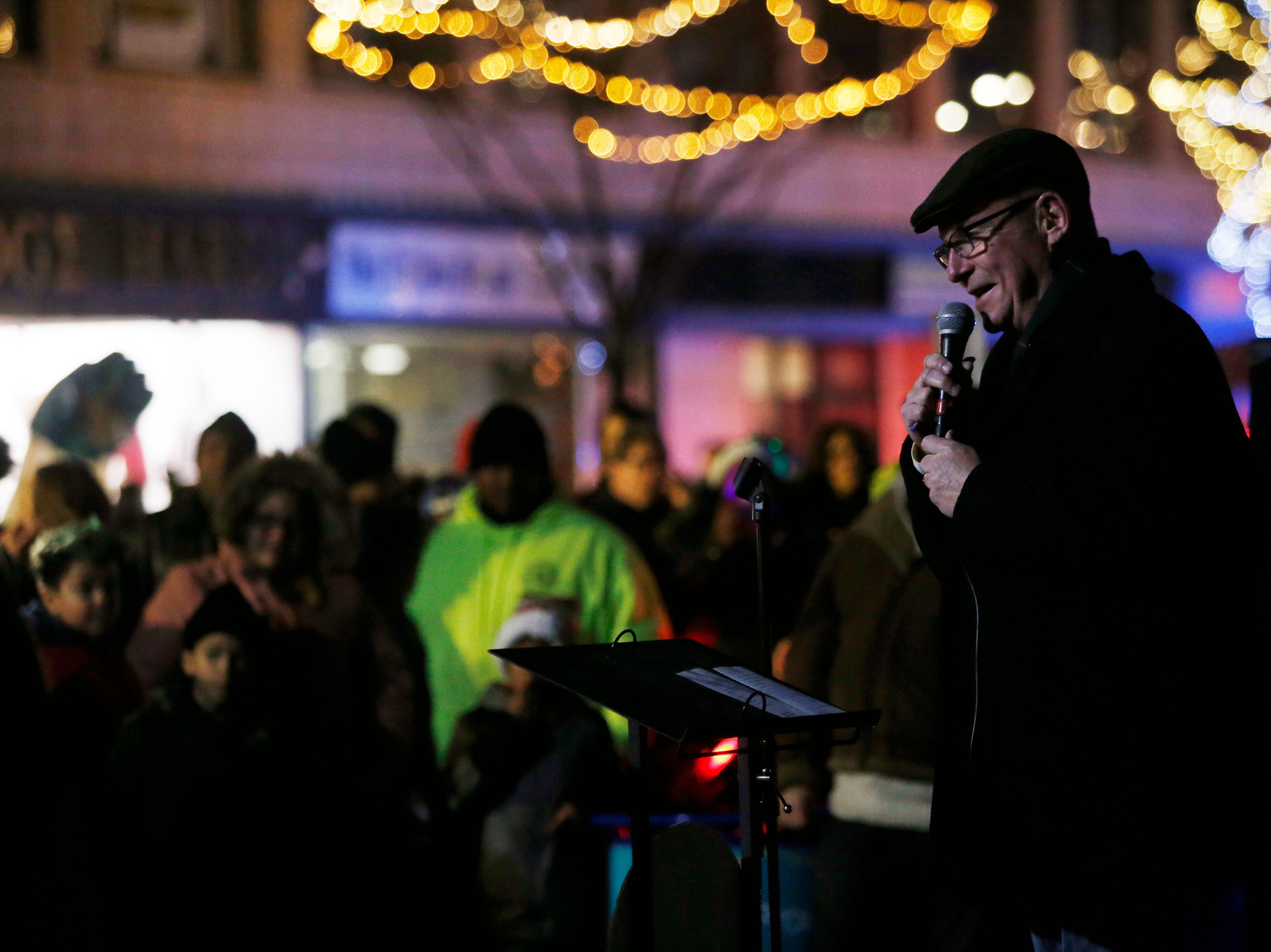 City of Poughkeepsie Mayor Rob Rolison speaks during a tree lighting at the Celebration of Lights Parade in the City of Poughkeepsie on November 30, 2018.