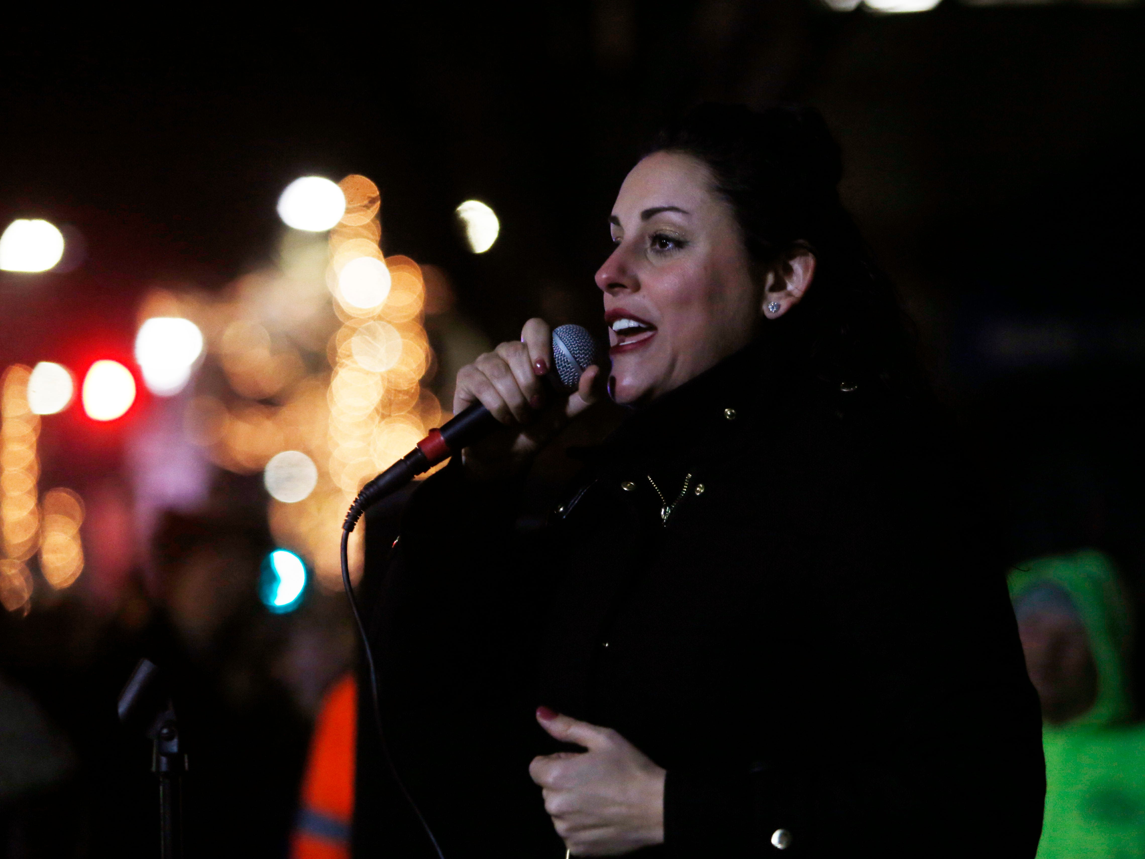 Michelle Barone performs during the Celebration of Lights Parade in the City of Poughkeepsie on November 30, 2018.