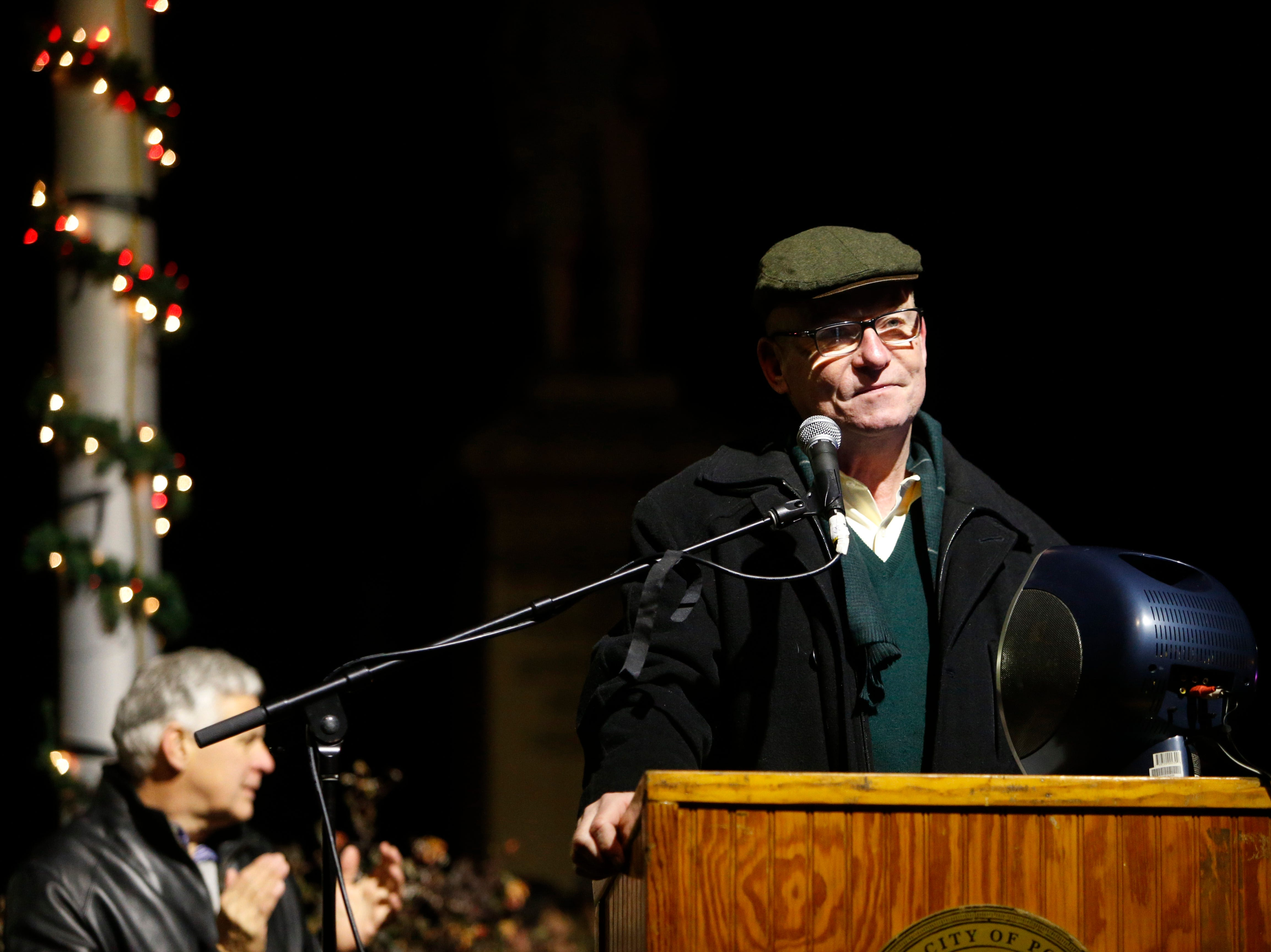 City of Poughkeepsie Mayor Rob Rolison speaks at the final stop of the Celebration of Lights Parade in the City of Poughkeepsie on November 30, 2018.