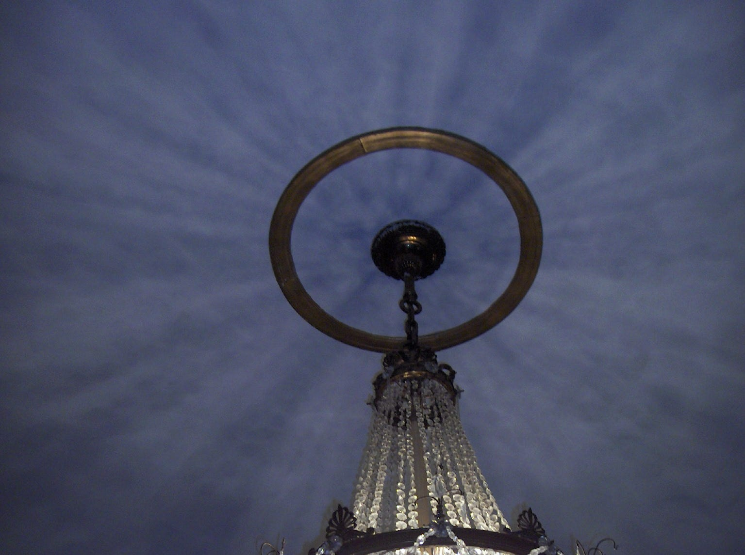 A chandelier in the mezzanine at Capitol Theatre, Chambersburg.