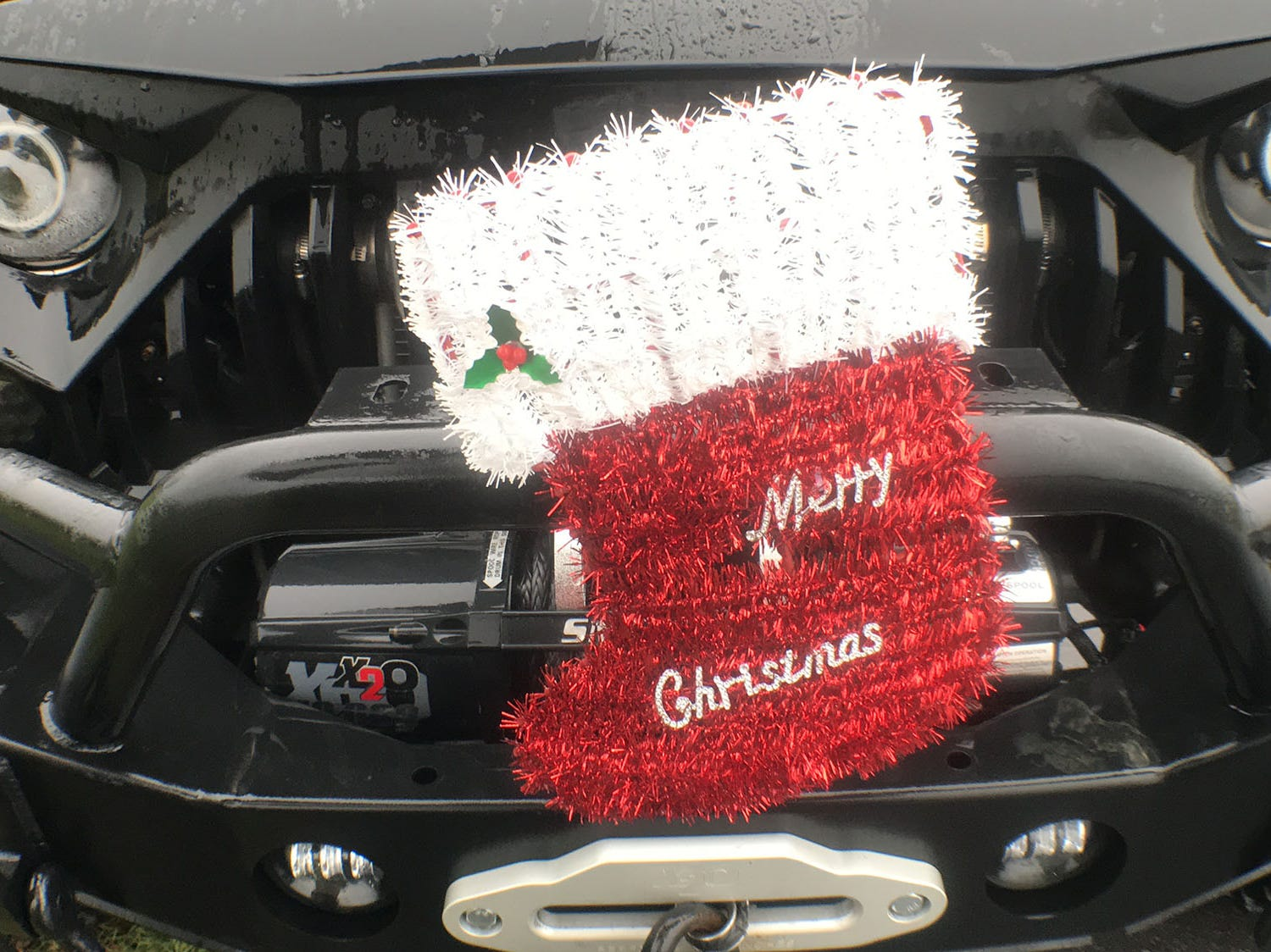 A Jeep Wrangler is decorated for  Christmas. Franklin County Jeeps Club were on their Shelter Tour on Saturday, December 1, 2018 and donated pet food and other items to local animal shelters, including Cumberland Valley Animal Shelter, Antietam Humane Society and Humane Society of Washington County. The group plans to make the donations and annual event.
