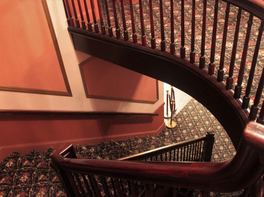 The grand staircase at Capitol Theatre, Chambersburg.