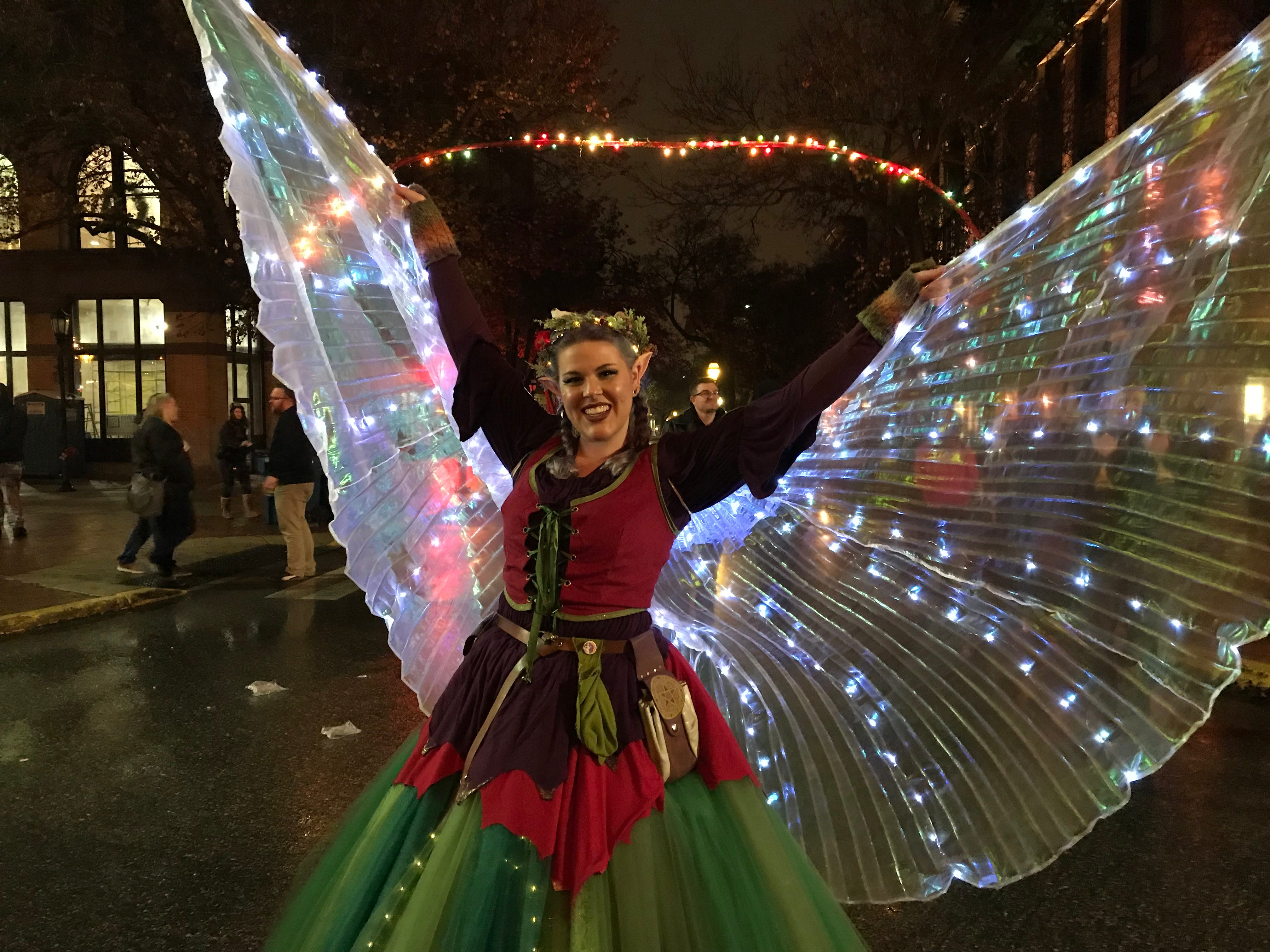 Krystal Younglove is dressed as a Christmas fairy at Light Up York on Saturday, Dec. 1, 2018.