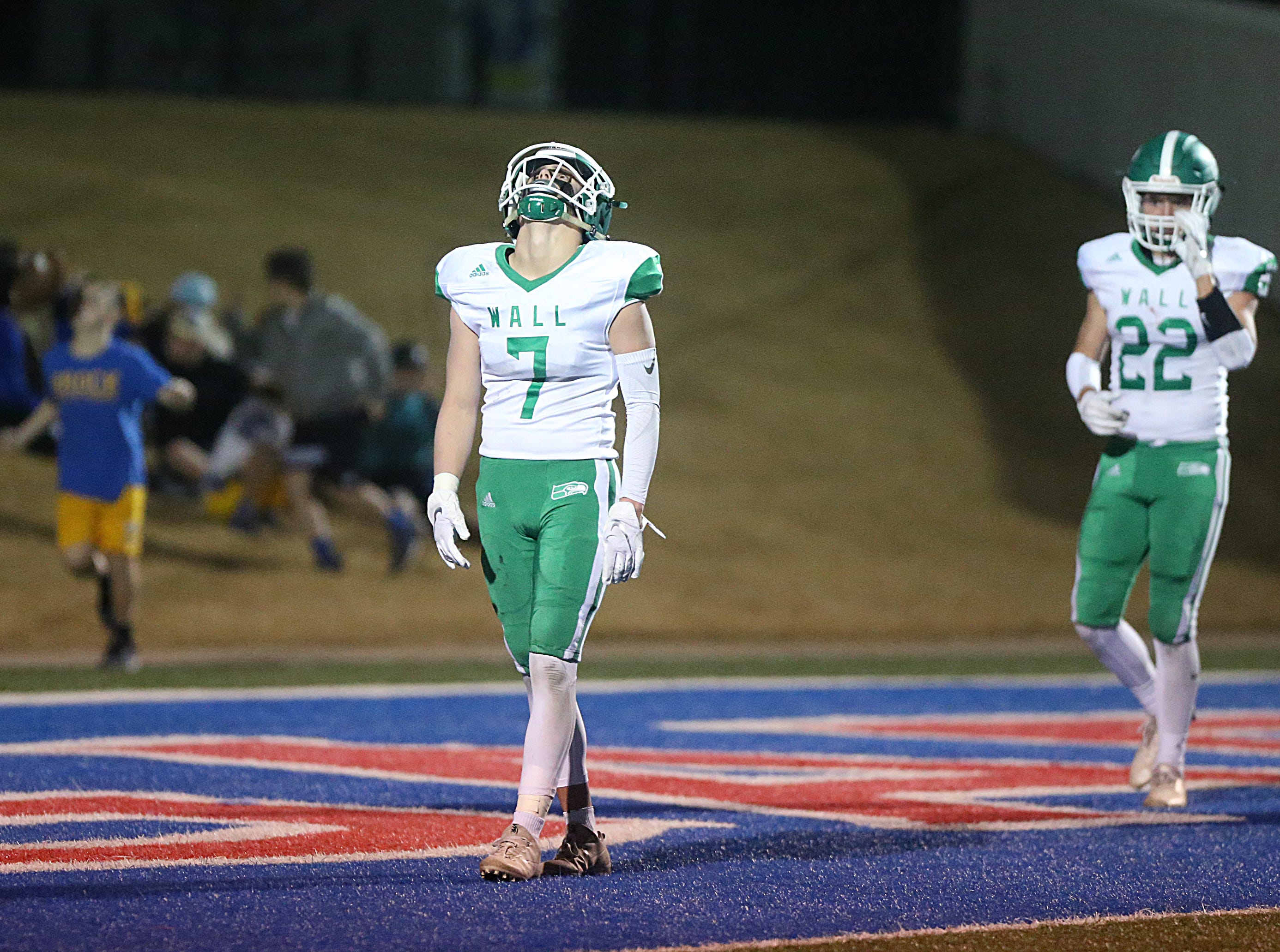 Wall's Austin Gray (#7) reacts to the Brock Eagles scoring a touchdown Friday, Nov. 30, 2018, during their game at Shotwell Stadium in Abilene. Wall lost 13 to 35.