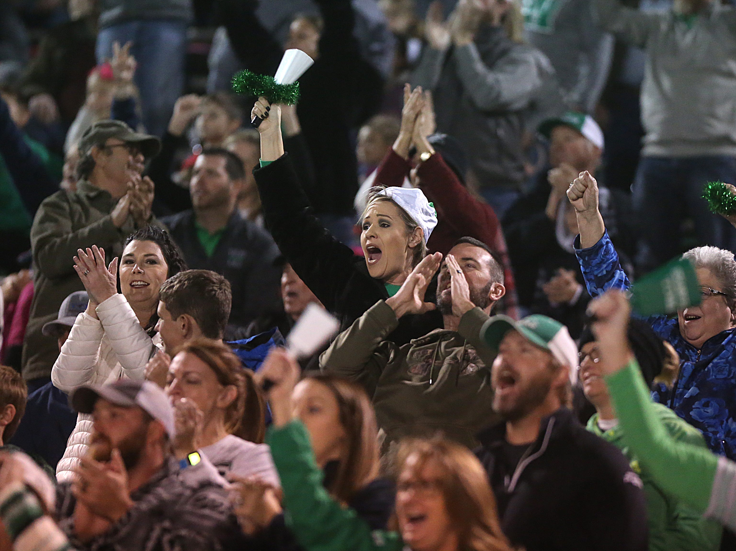 Wall fans cheer for their team Friday, Nov. 30, 2018, during their game against the Brock Eagles at Shotwell Stadium in Abilene. Wall lost 13 to 35.