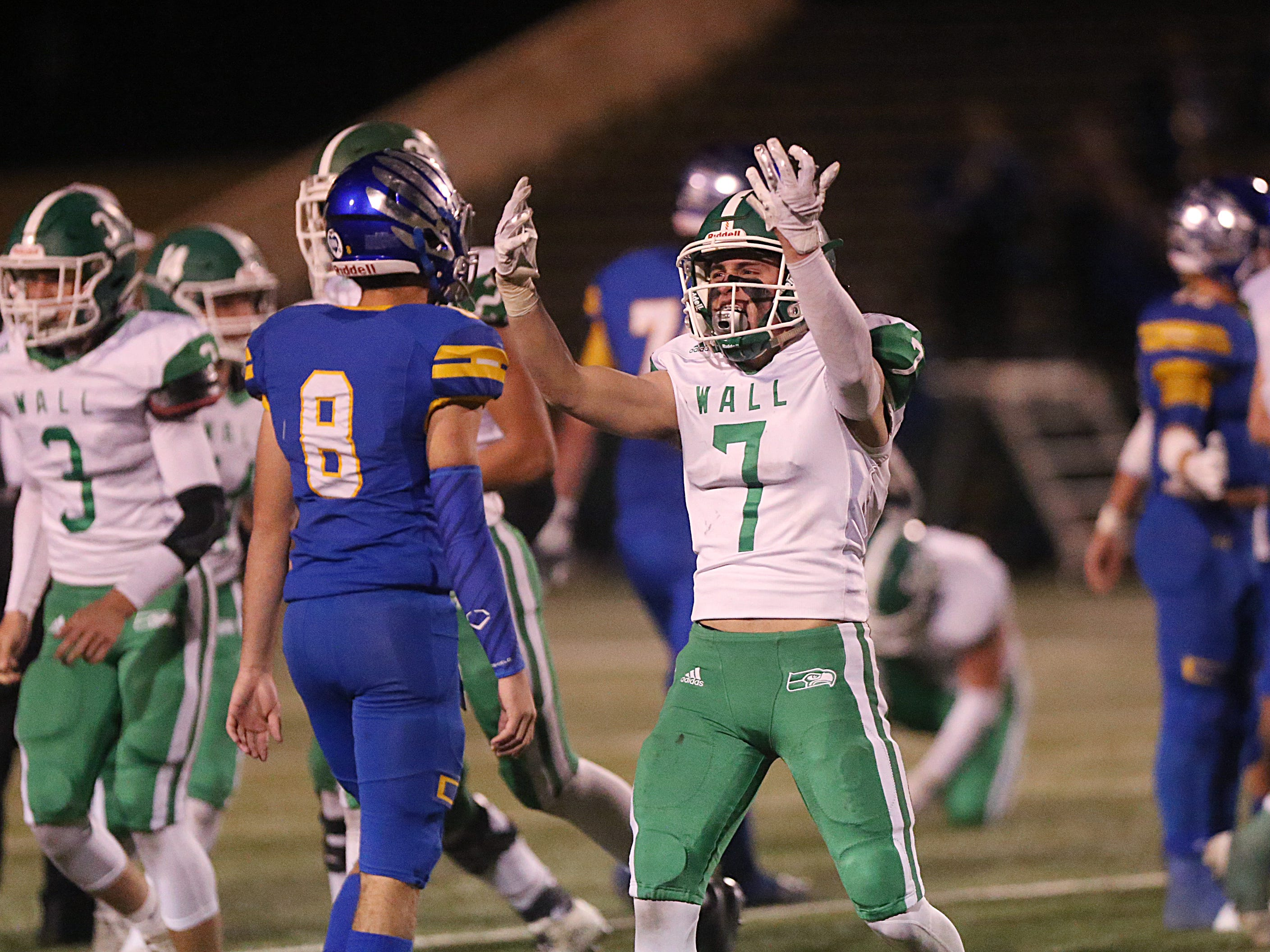 Wall's Austin Gray (#7) pumps up the crowd Friday, Nov. 30, 2018, during their game against the Brock Eagles at Shotwell Stadium in Abilene. Wall lost 13 to 35.