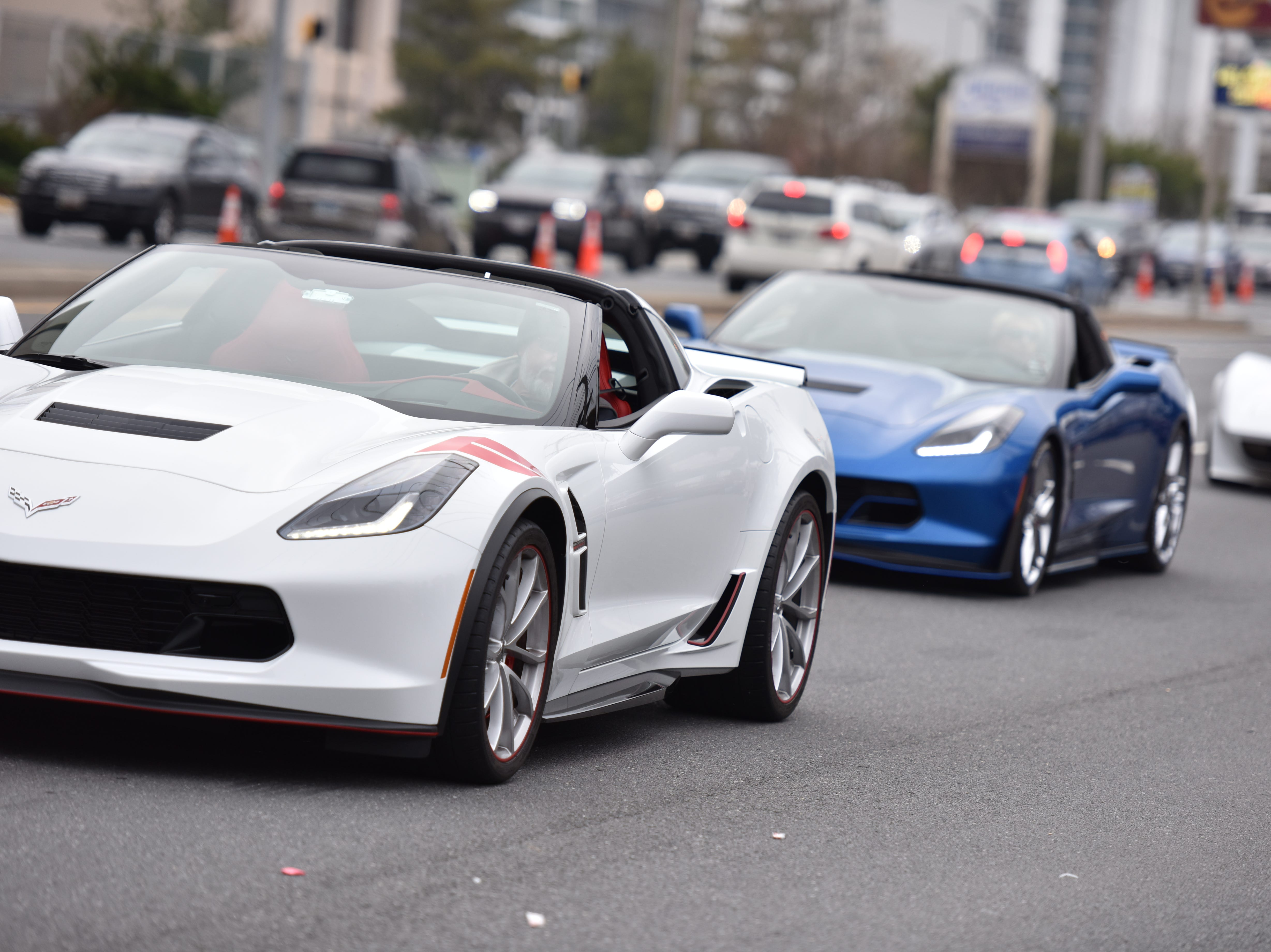 Decorated Corvettes joined in at the Ocean City Chrsitmas parade on Saturday, Dec. 1, 2018.