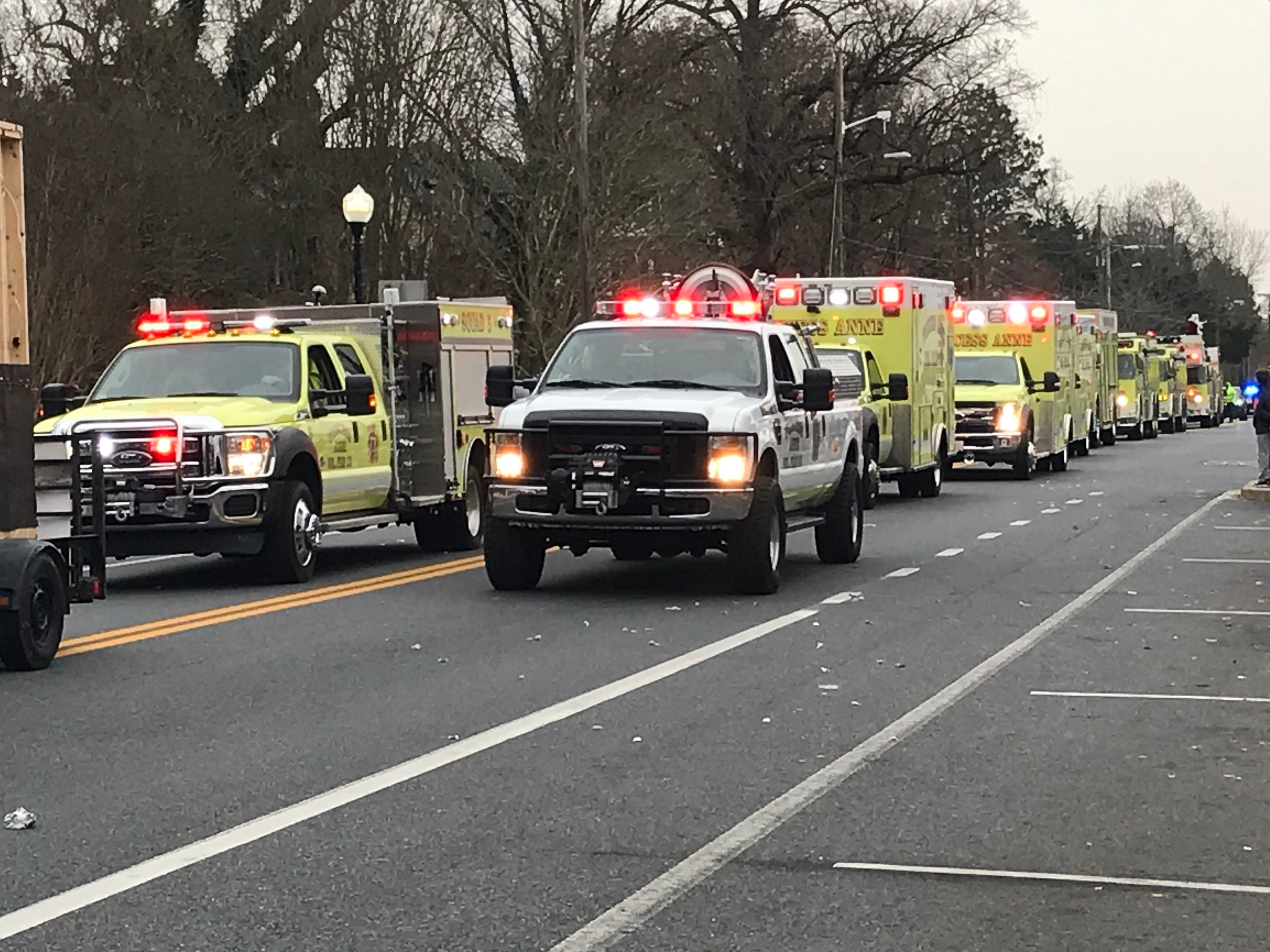 The parade ended with a line of firetrucks and rescue vehicles.