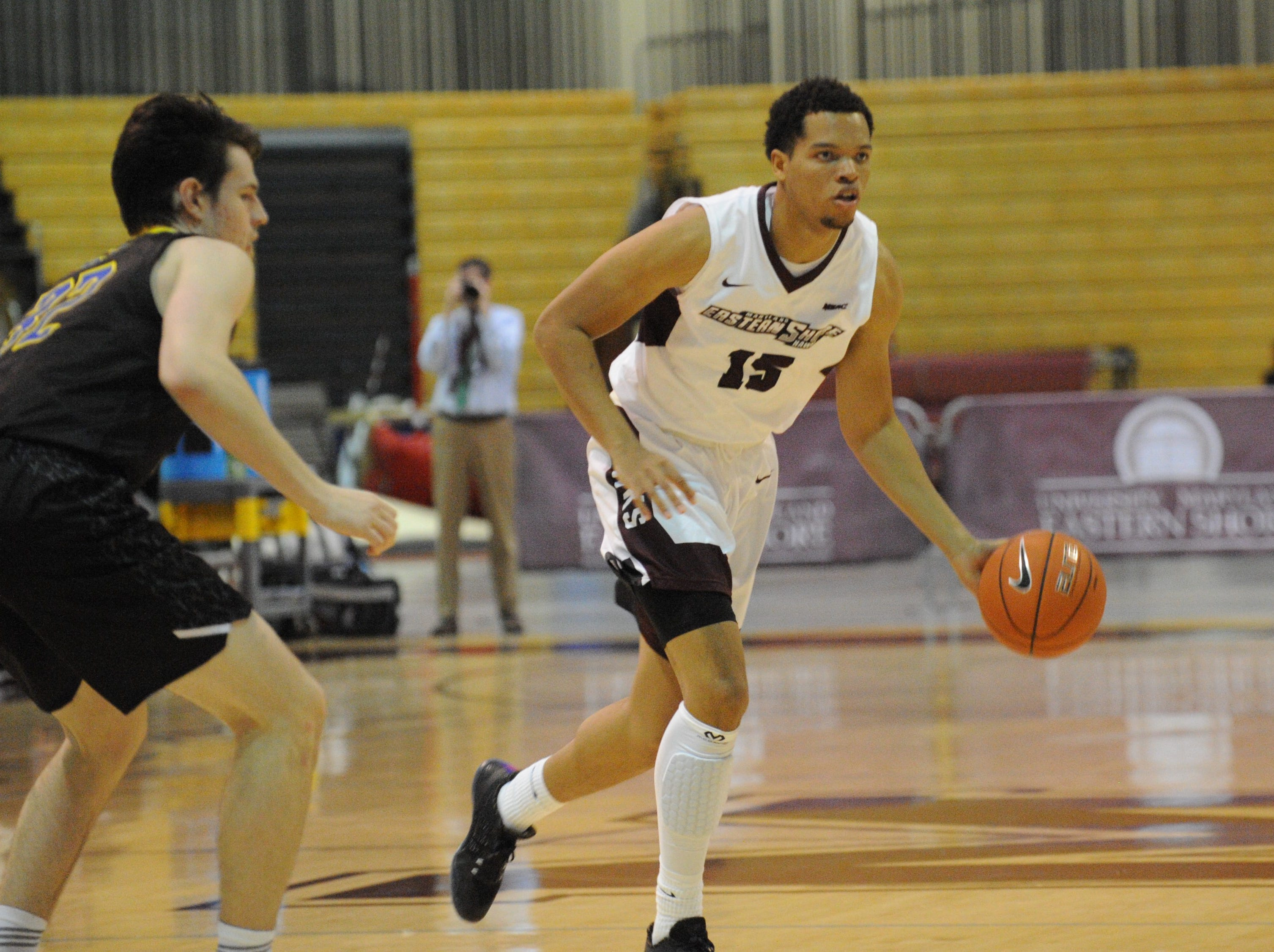 University of Maryland Eastern Shore forward Tyler Jones dribbles down court against the University of Delaware on Friday, Nov. 30, 2018. The Blue Hens beat the Hawks, 71-62.