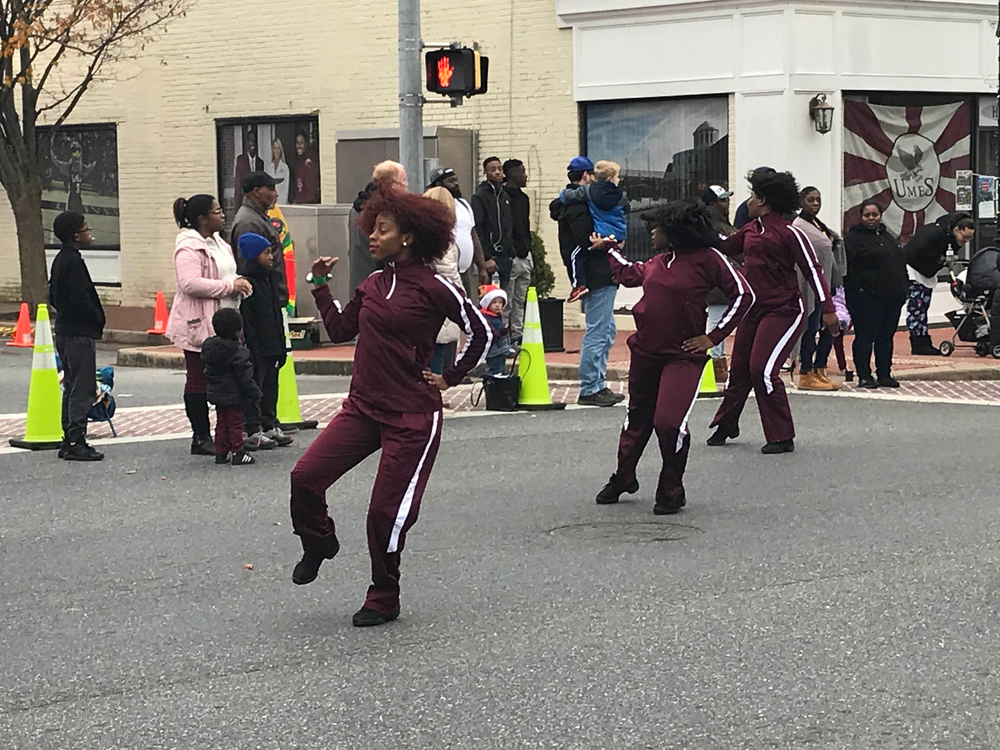 Dancers from the UMES Thundering Hawks Pep Band perform.