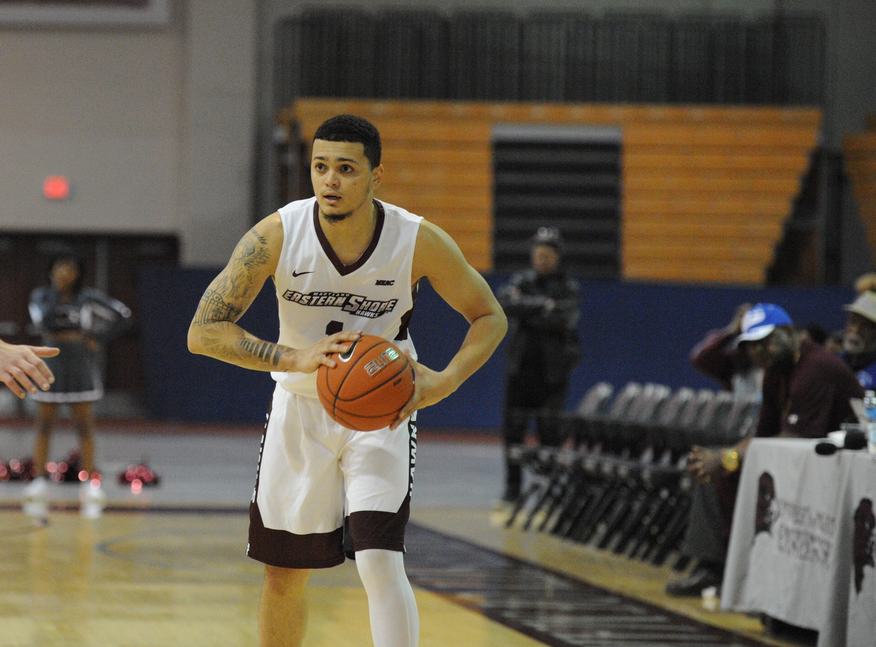 University of Maryland Eastern Shore guard Ryan Andino looks to pass against the University of Delaware on Friday, Nov. 30, 2018. The Blue Hens beat the Hawks, 71-62.