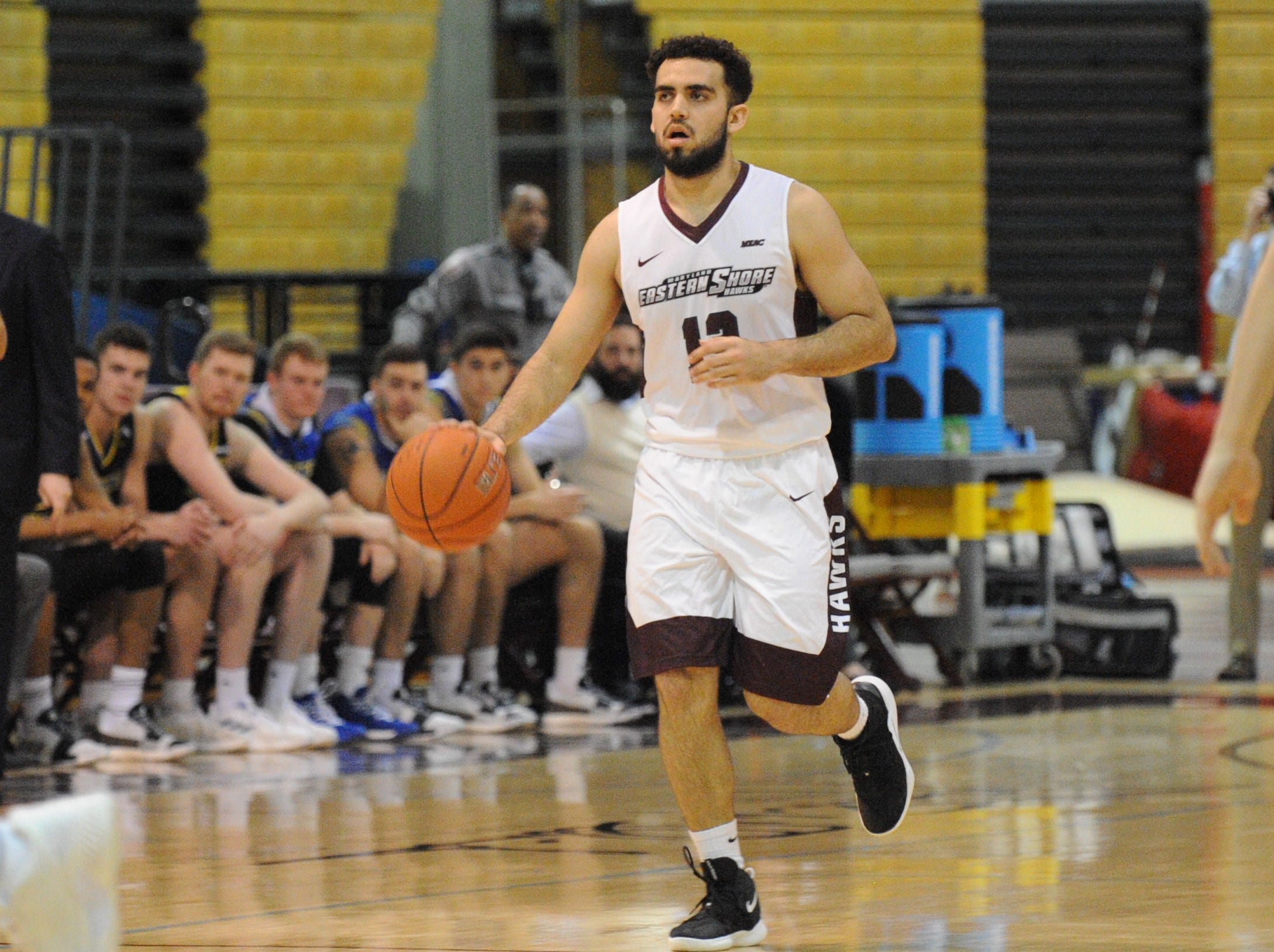 University of Maryland Eastern Shore guard Bryan Urrutia takes the ball up court against the University of Delaware on Friday, Nov. 30, 2018. The Blue Hens beat the Hawks, 71-62.