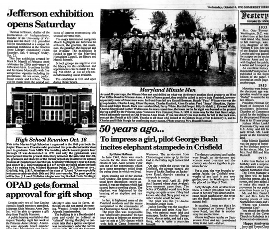 A screenshot from the Oct. 6, 1993 Somerset Herald that details George H.W. Bush's attempt to impress a girl in 1943.