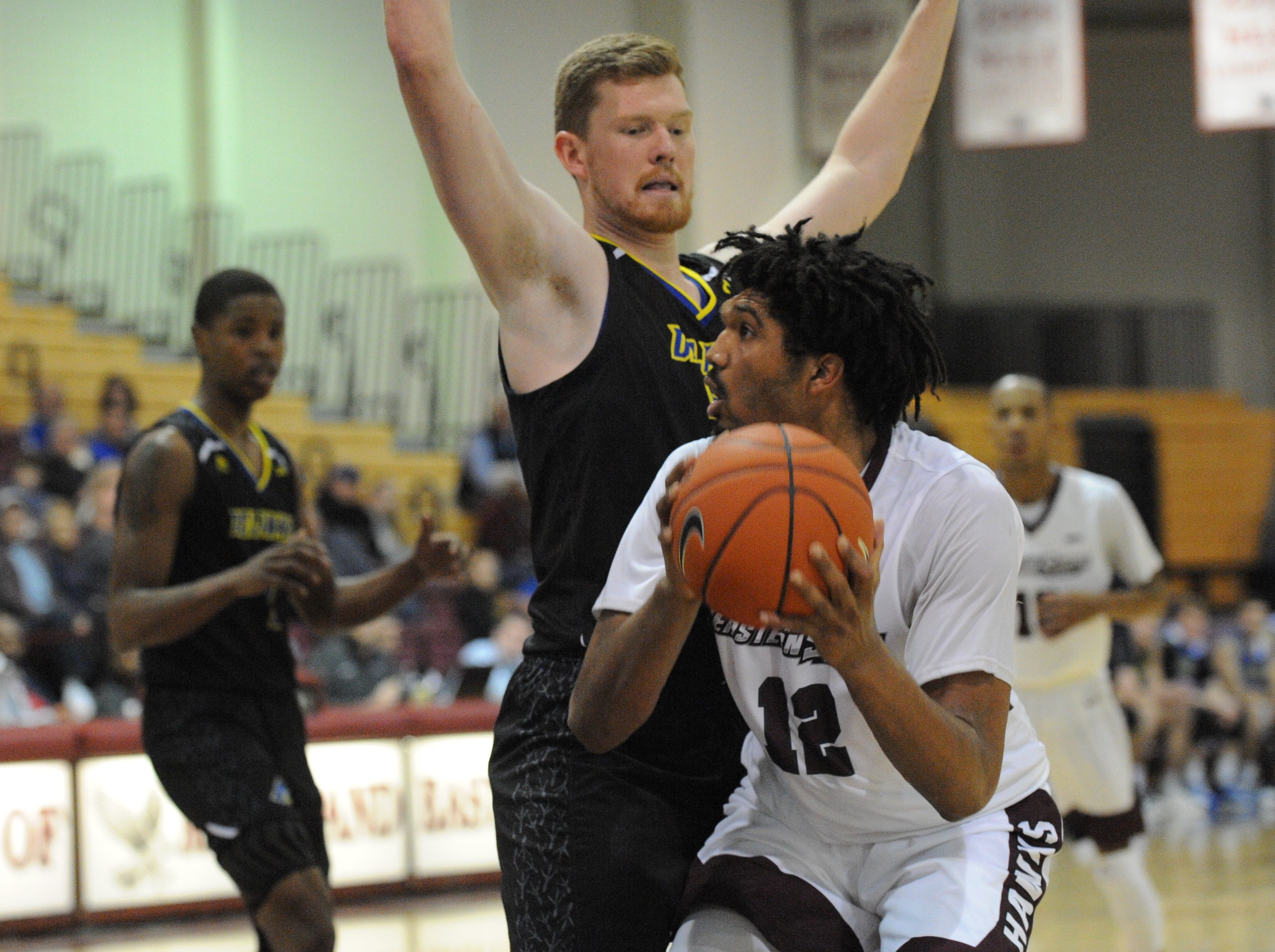 University of Maryland Eastern Shore forward A.J. Cheeseman looks to the net against the University of Delaware on Friday, Nov. 30, 2018. The Blue Hens beat the Hawks, 71-62.