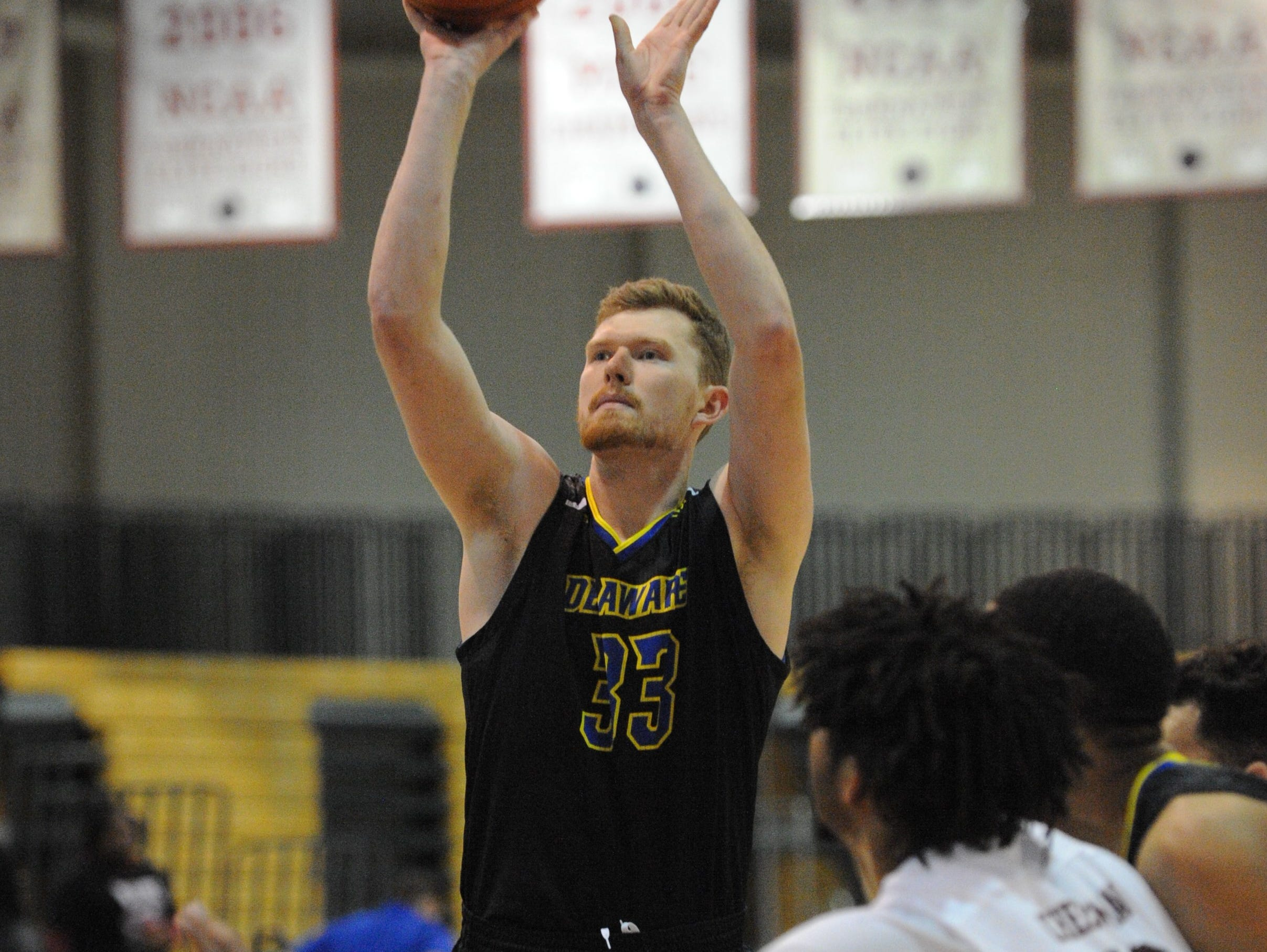 University of Delaware forward Collin Goss takes a foul shot against the University of Maryland Eastern Shore on Friday, Nov. 30, 2018. The Blue Hens beat the Hawks, 71-62.