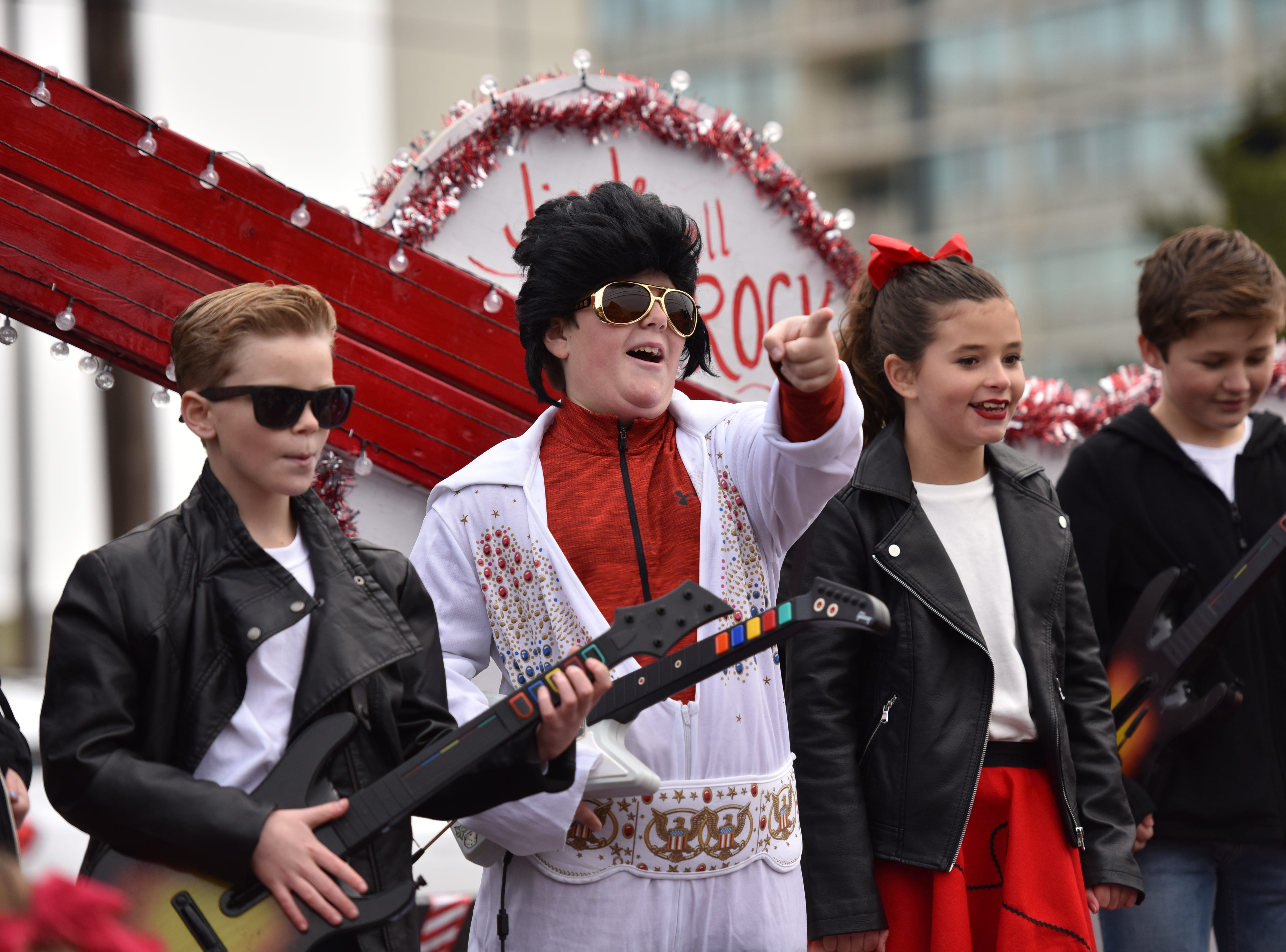 Worcester Prep students caroling at the Ocean City Christmas parade.