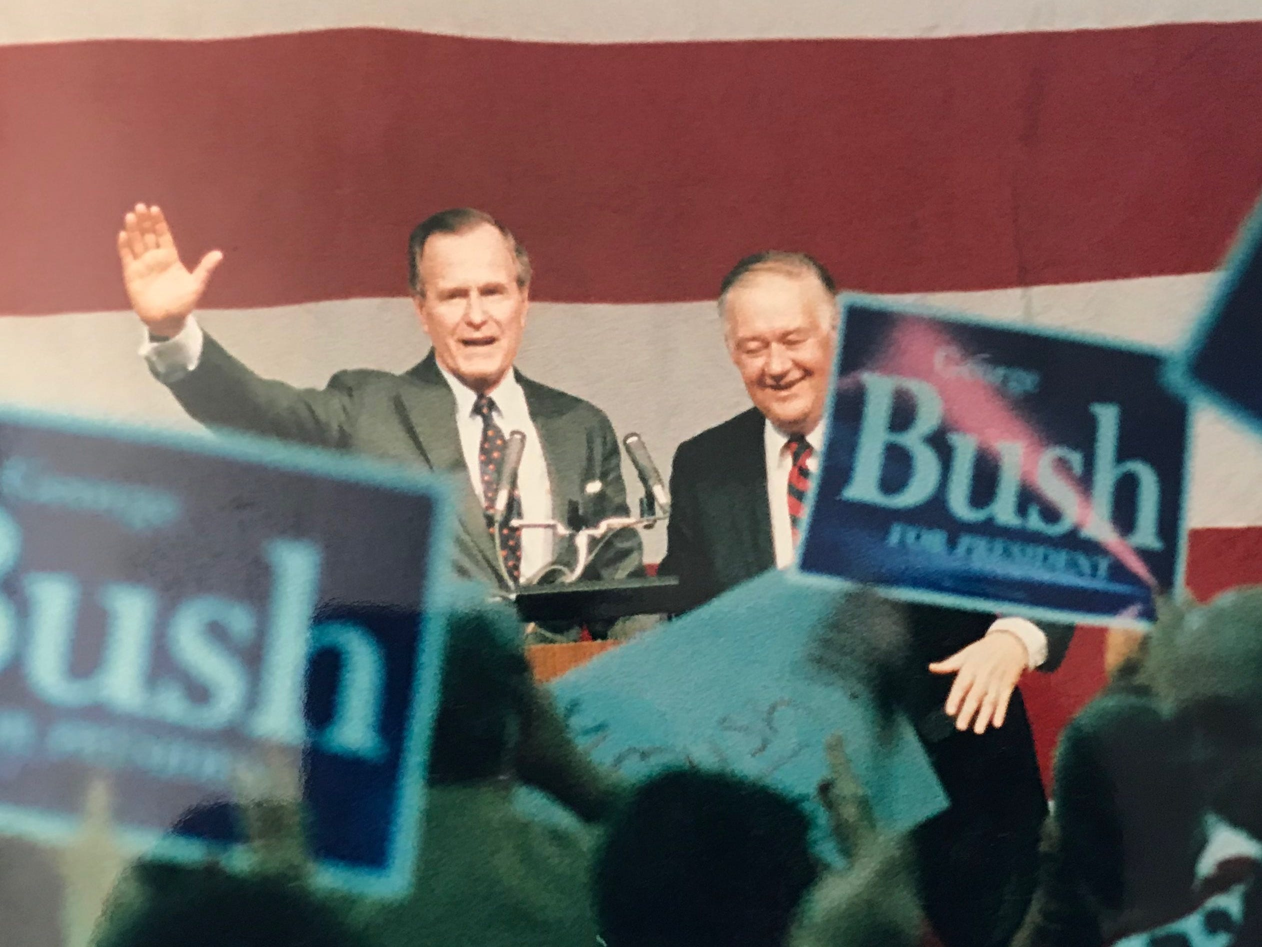 Vice President George H.W. Bush during a Springfield campaign visit in 1988 as he campaigned for president.