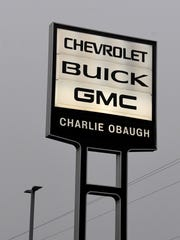 Sign marks the location of Charlie Obaugh Chevrolet Buick GMC on U.S. 11 in Staunton on Saturday, Dec. 1, 2018.
