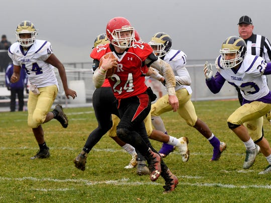 Riverheads' Jaden Phillips runs the ball during a VHSL Class 1 state semifinal game played in Greenville on Saturday, Dec. 1, 2018.