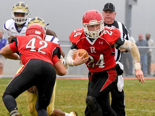 Senior fullback Jaden Phillips rushed for a season-high 162 yards and three TDs in Riverheads' 28-6 victory over Essex in the VHSL Class 1 state semifinals Dec. 1.
