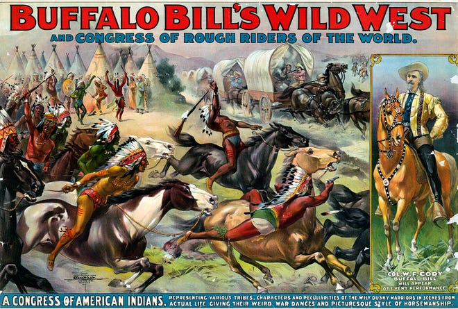 "A poster advertises ""Buffalo Bill"" Cody's Wild West and Congress of Rough Riders of the World show, which made an appearance in Staunton in 1899."