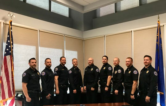 Officers at the Mesquite Police Department on the final day of the No Shave November fundraiser for 15-year-old Olivia Stuart