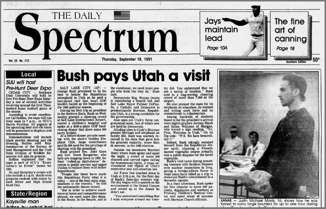The Daily Spectrum's coverage on Sept. 19, 1991, of President George H.W. Bush's trip to Utah.