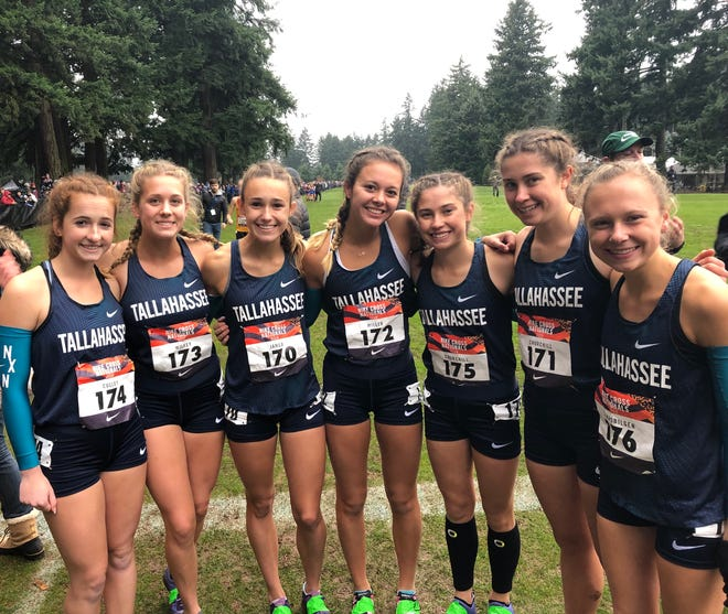 Chiles' girls cross country team finished 22nd at Nike Cross Nationals in Portland, Oregon. From left: Emily Culley, Caitlin Wilkey, Lindsay James, Olivia Miller, Alyson Churchill, Megan Churchill, Abby Schrobilgen.