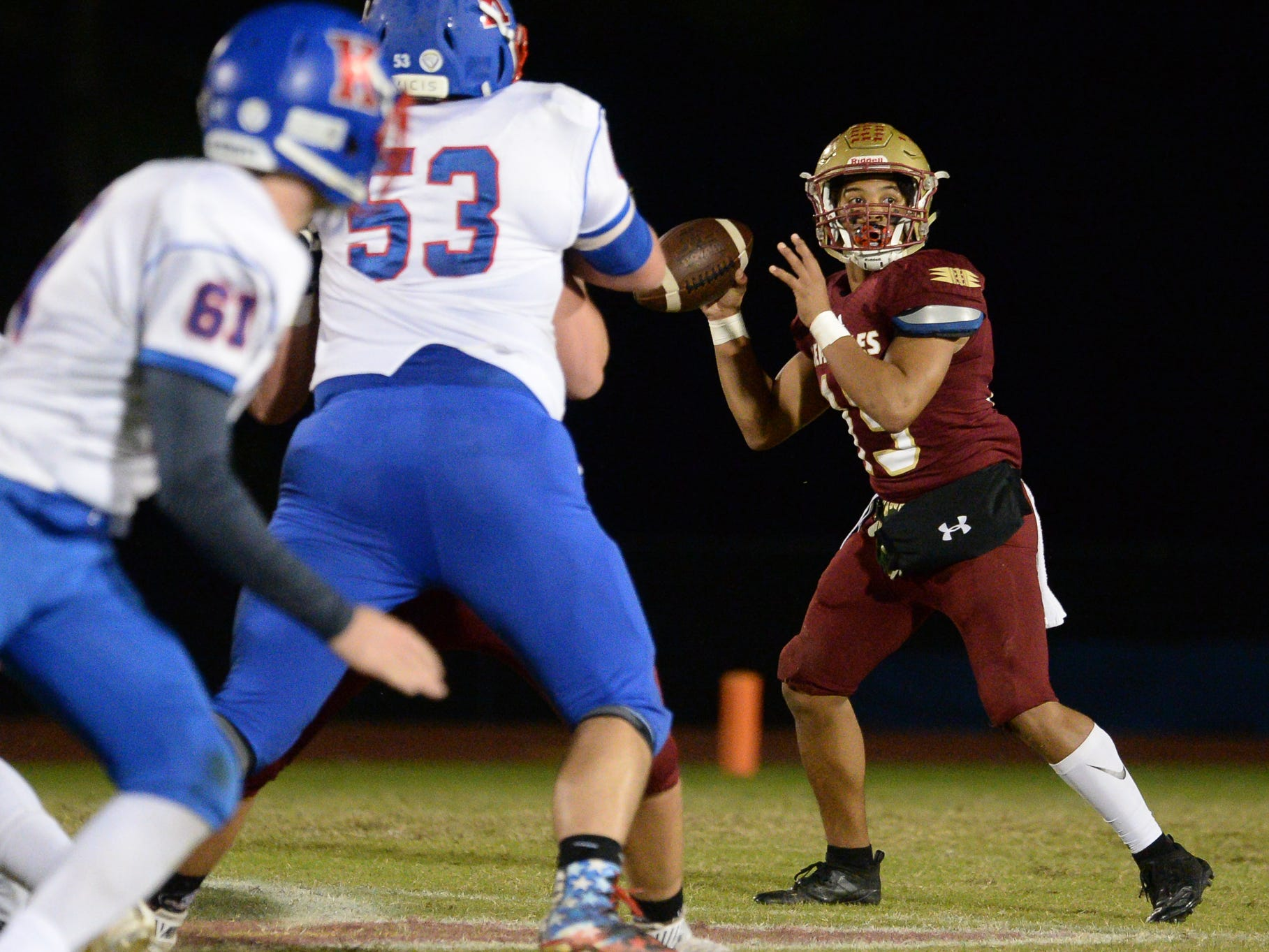Florida High's Bryson Hill prepares to throw the ball during the King's Academy Lions vs. Florida High Seminoles, Class 3A state semifinal, Tallahassee, FL, Nov. 30, 2018.