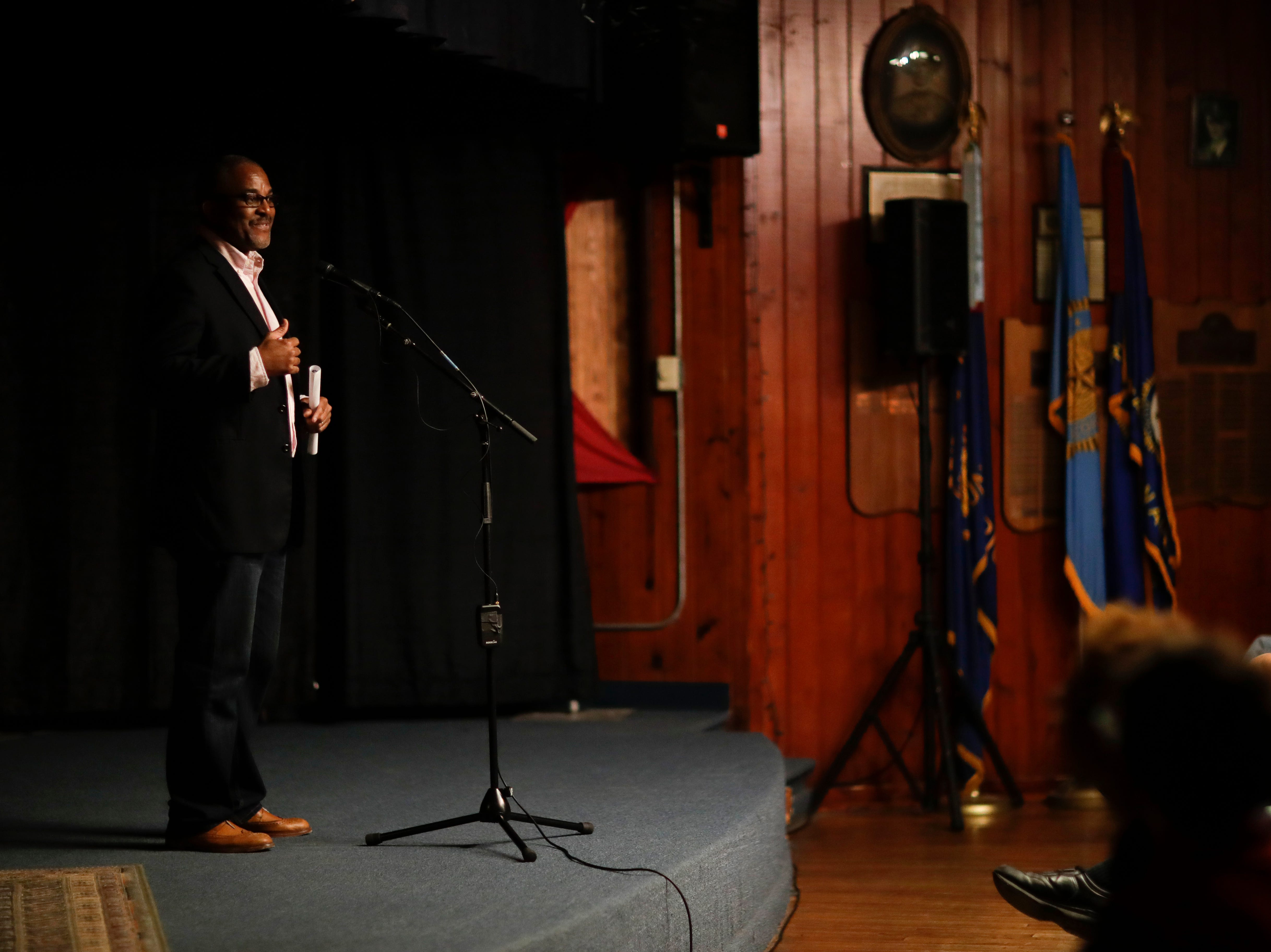 "Tallahassee Democrat Storytelling Coach Andrew Skerritt thanks everyone for coming to the Storytellers event ""In the Blink of an Eye: Stories of Tragedy, Triumph and Transformation"" at the American Legion Post 13 in Tallahassee Friday, Nov. 30, 2018."
