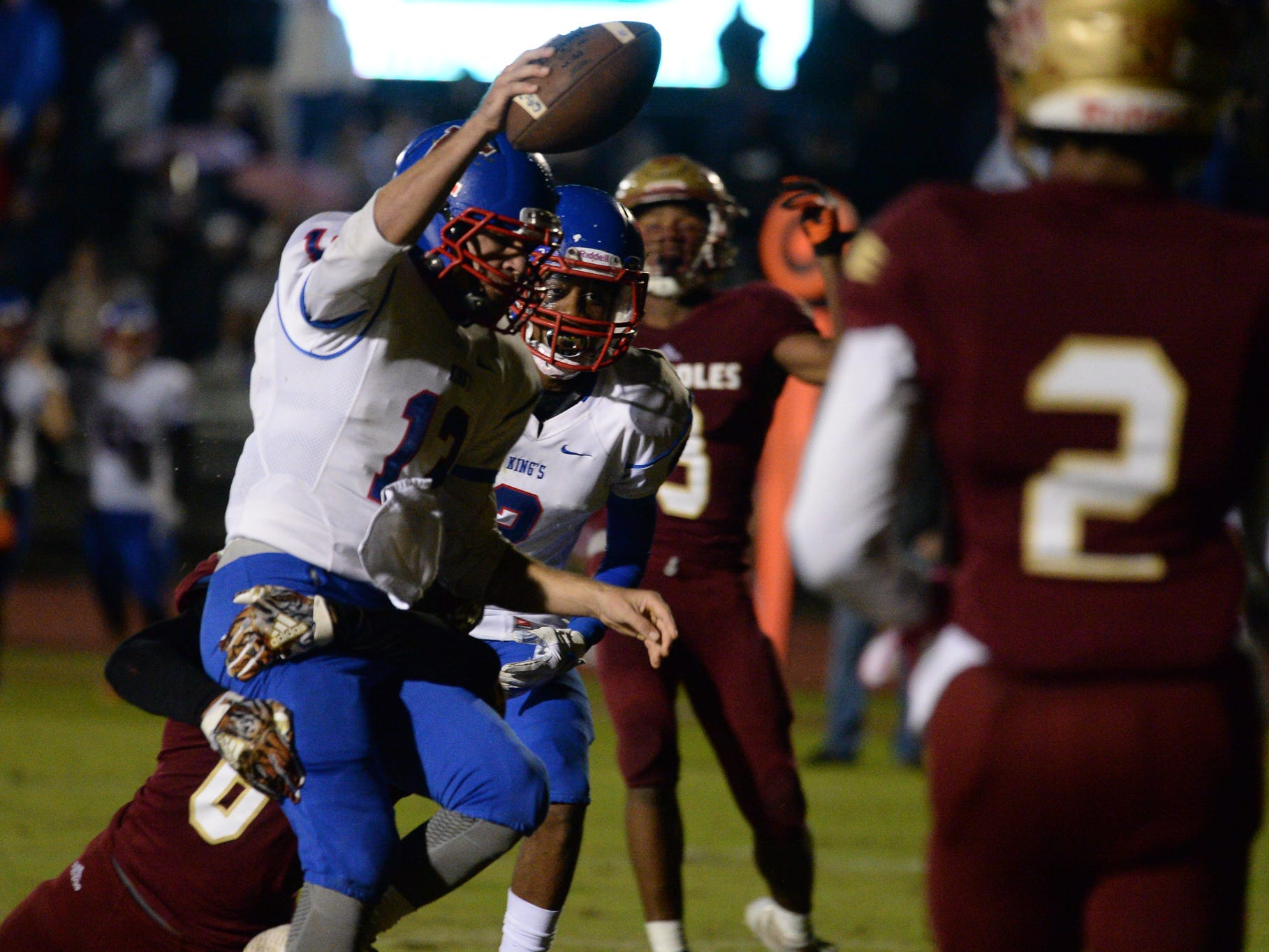 King's Academy's Justin Wake (13) runs for a touchdown during Friday's King's Academy Lions vs. Florida High Seminoles, Class 3A state semifinal, Tallahassee, FL, Nov. 30, 2018.