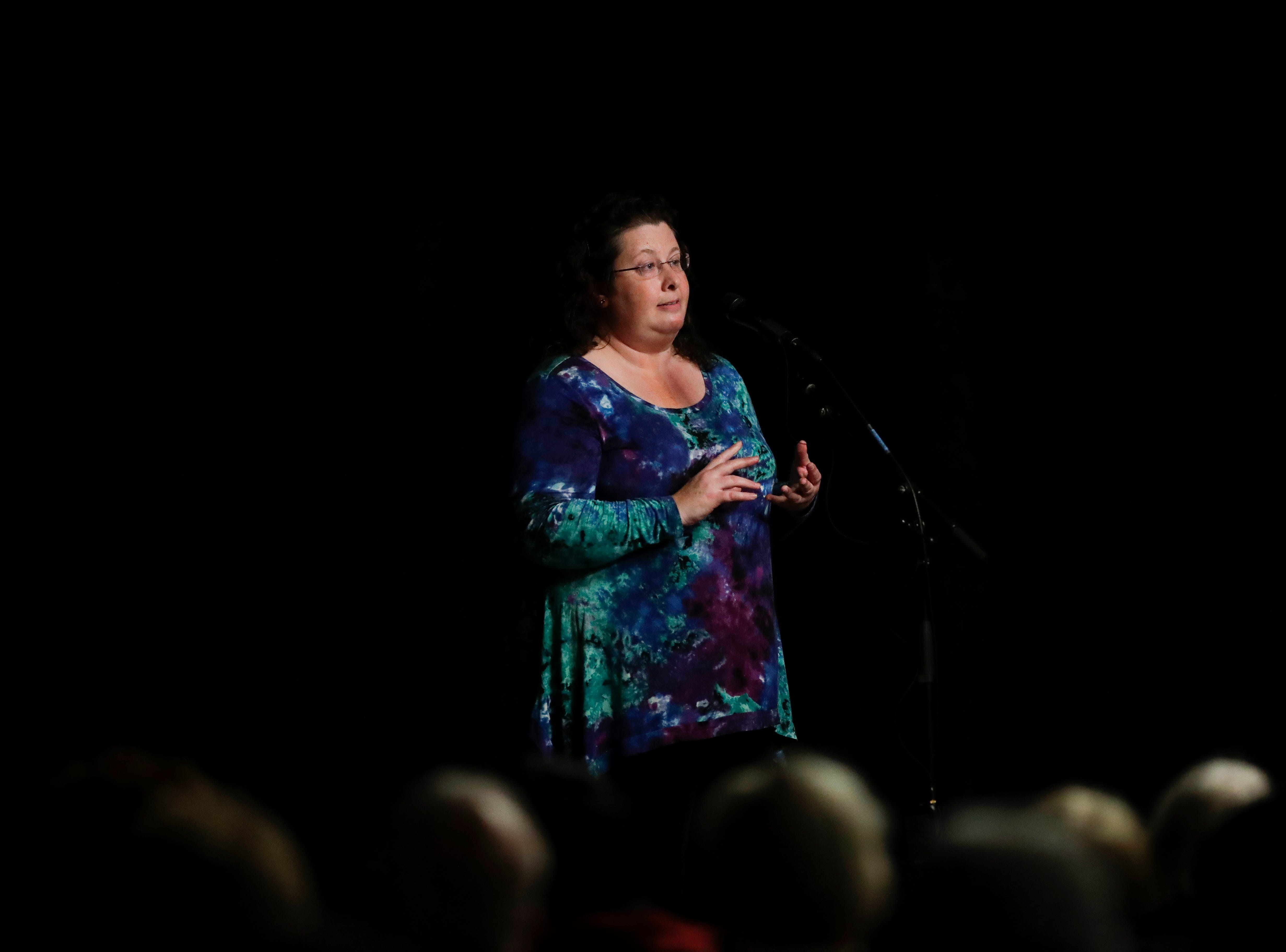 "Rachel Sutz Pienta shares ""Losing My Sister, Finding My Purpose"" during the Storytellers event ""In the Blink of an Eye: Stories of Tragedy, Triumph and Transformation"" at the American Legion Post 13 in Tallahassee Friday, Nov. 30, 2018."