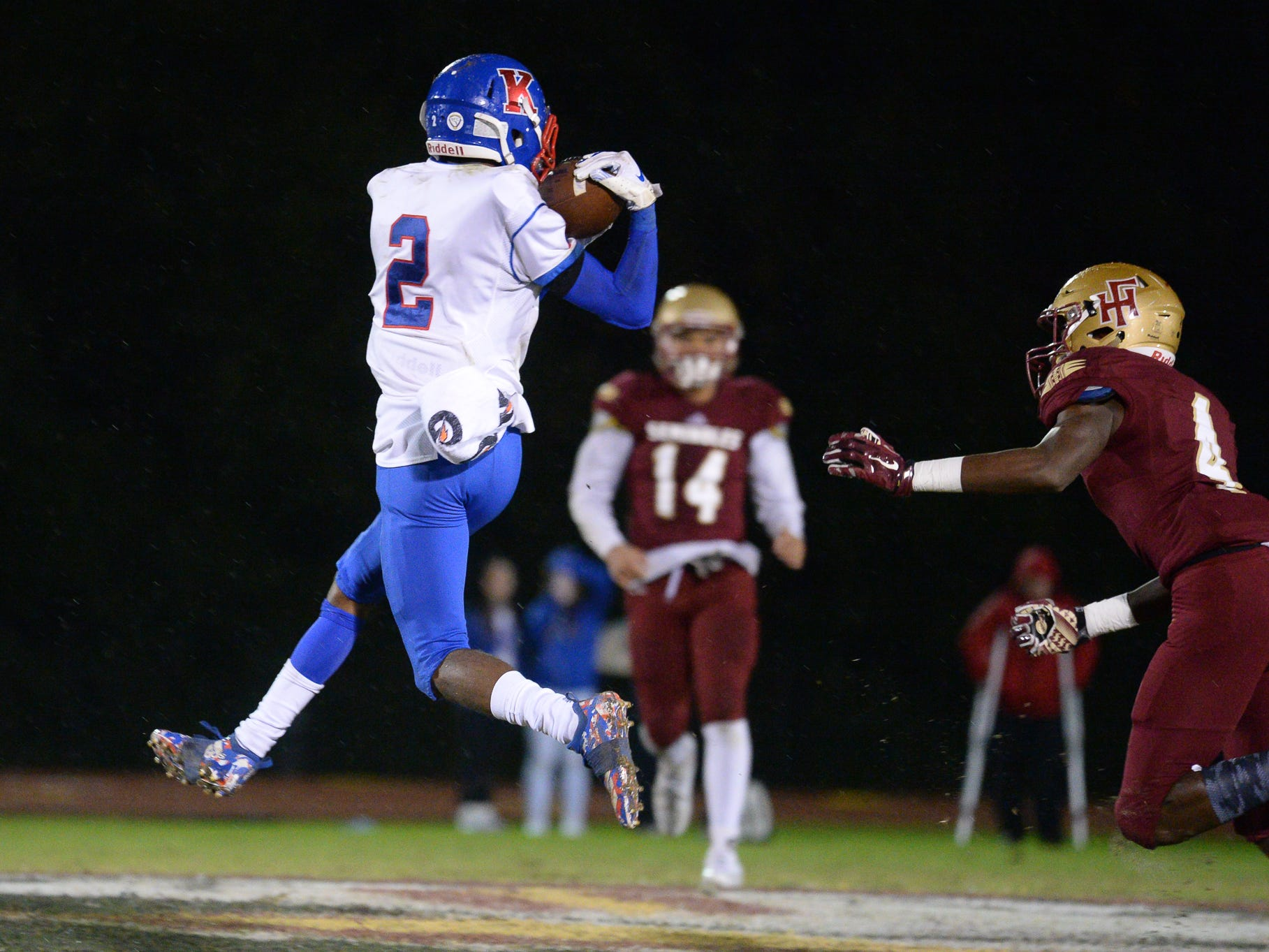 Lions' Javonne Wynn (2) reels in a catch Friday at the King's Academy Lions vs. Florida High Seminoles, Class 3A state semifinal, Tallahassee, FL, Nov. 30, 2018.