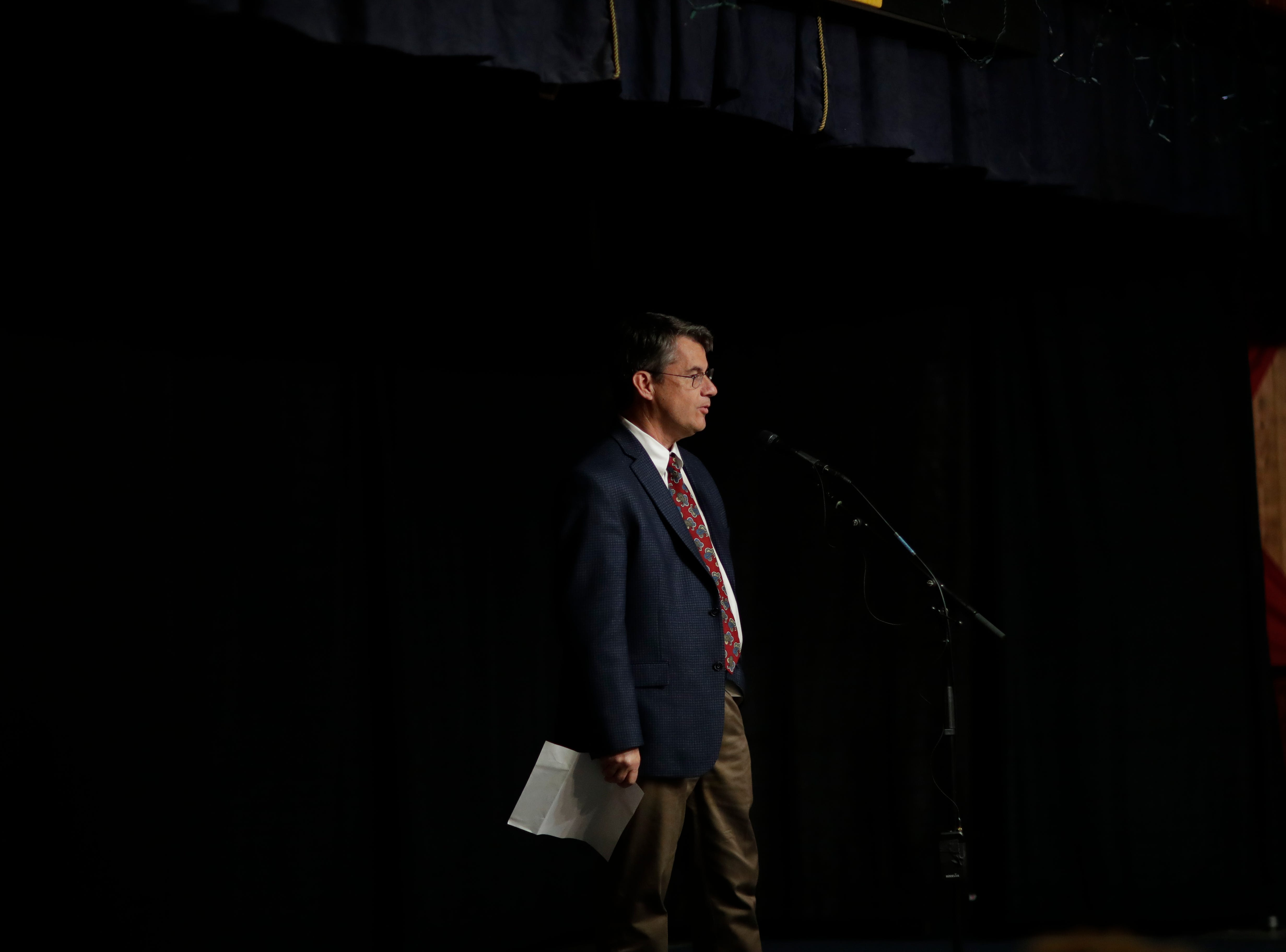 "Tallahassee Democrat President Skip Foster makes introductions to start the program during the Storytellers event ""In the Blink of an Eye: Stories of Tragedy, Triumph and Transformation"" at the American Legion Post 13 in Tallahassee Friday, Nov. 30, 2018."