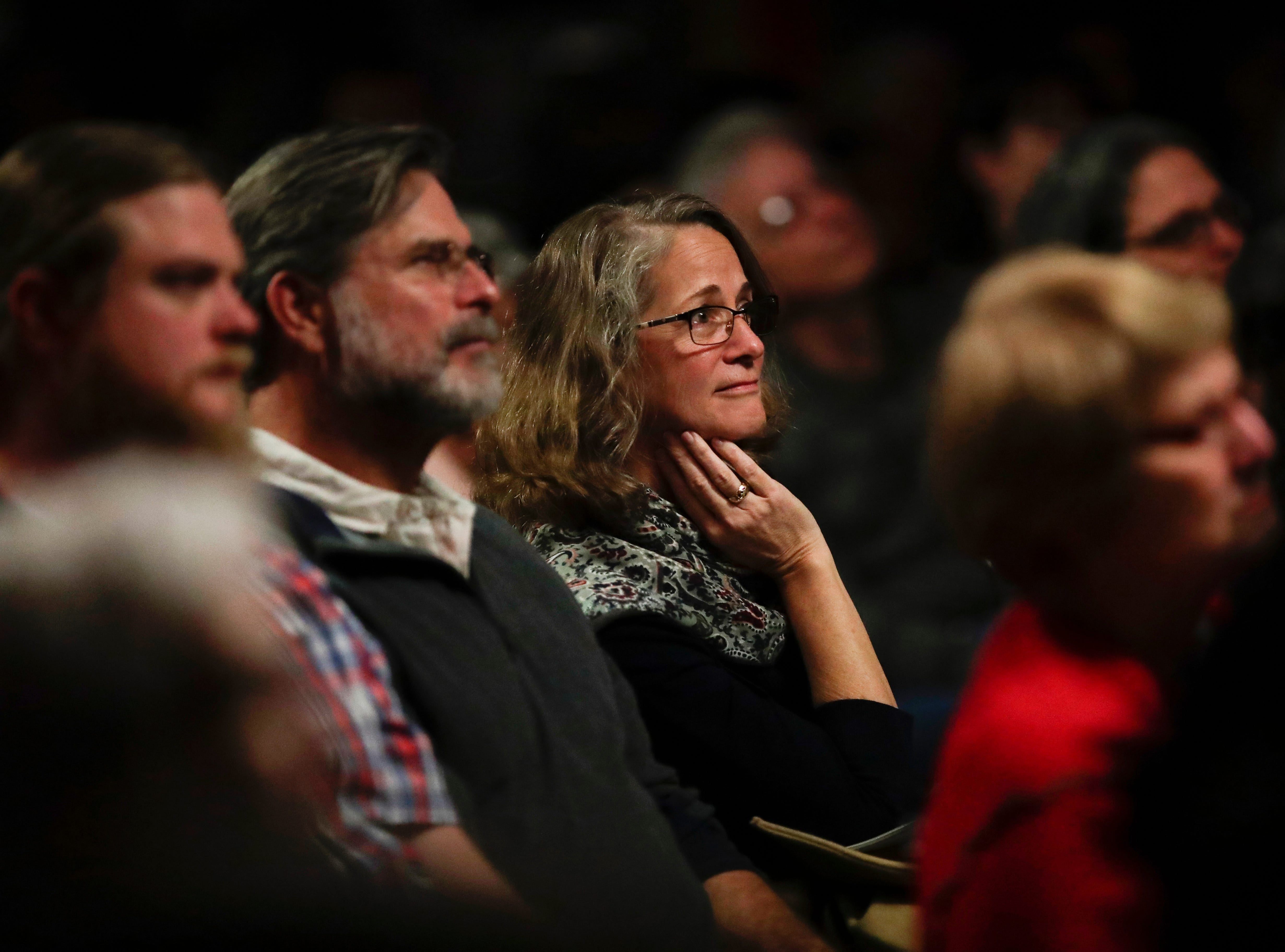 "Members of the crowd listen as stories are shared during the Storytellers event ""In the Blink of an Eye: Stories of Tragedy, Triumph and Transformation"" at the American Legion Post 13 in Tallahassee Friday, Nov. 30, 2018."