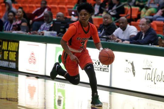 FAMU guard Candice Williams pushes the ball up the court and looks for an open player.