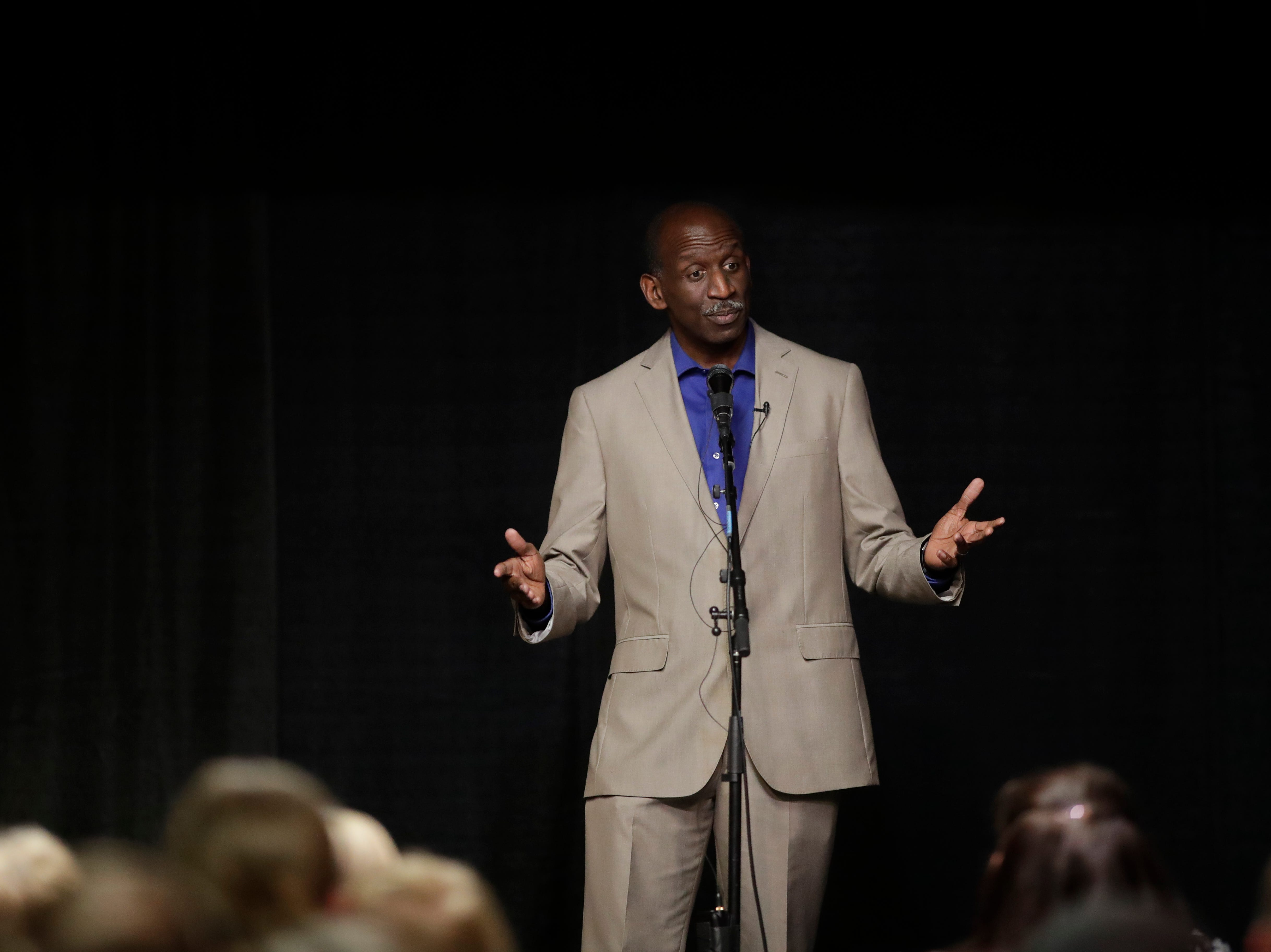 "Kenneth Jones shares his story ""The Corner Store"" during the Storytellers event ""In the Blink of an Eye: Stories of Tragedy, Triumph and Transformation"" at the American Legion Post 13 in Tallahassee Friday, Nov. 30, 2018."