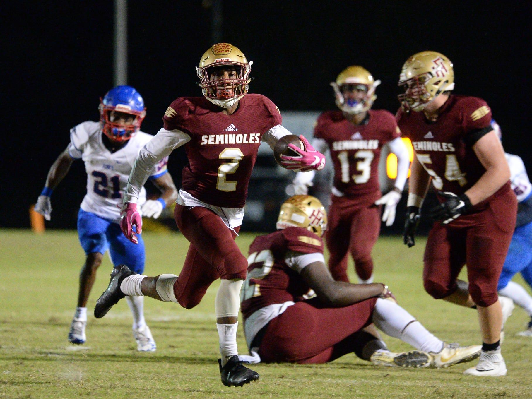 Florida High Javan Morgan (2) carries the ball during the King's Academy Lions vs. Florida High Seminoles, Class 3A state semifinal, Tallahassee, FL, Nov. 30, 2018.