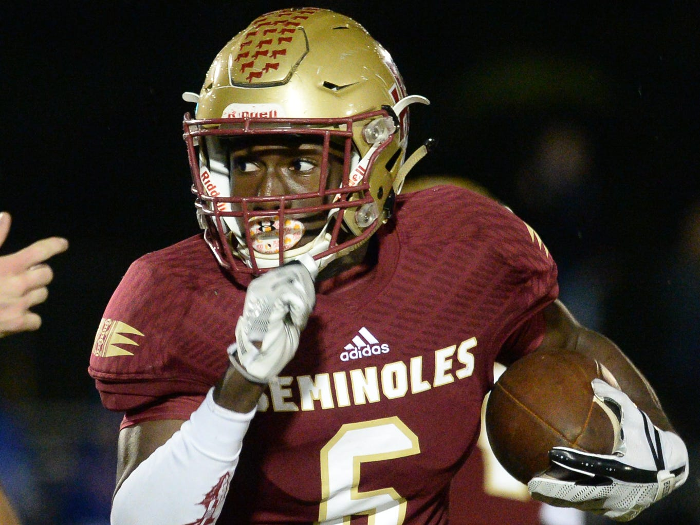 Florida High A. Menjor (6) carries the ball during the King's Academy Lions vs. Florida High Seminoles, Class 3A state semifinal, Tallahassee, FL, Nov. 30, 2018.