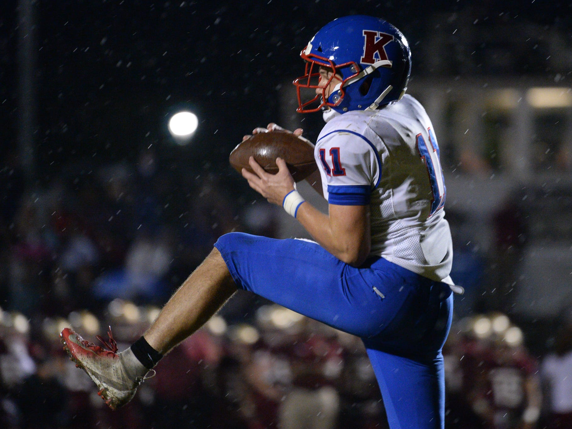 Cory Croteau catches a touchdown pass as the King's Academy Lions take on the Florida High Seminoles in a Class 3A state semifinal.