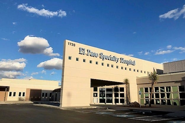El Paso Specialty Hospital, at 1755 Curie Drive in Central El Paso, is closing at the end of the year.